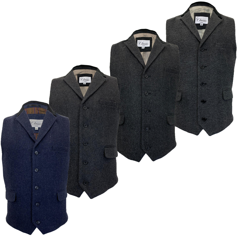 Mens Waistcoat Wool Mix Herringbone Tweed Check Velvet Collar Smart Formal Vest