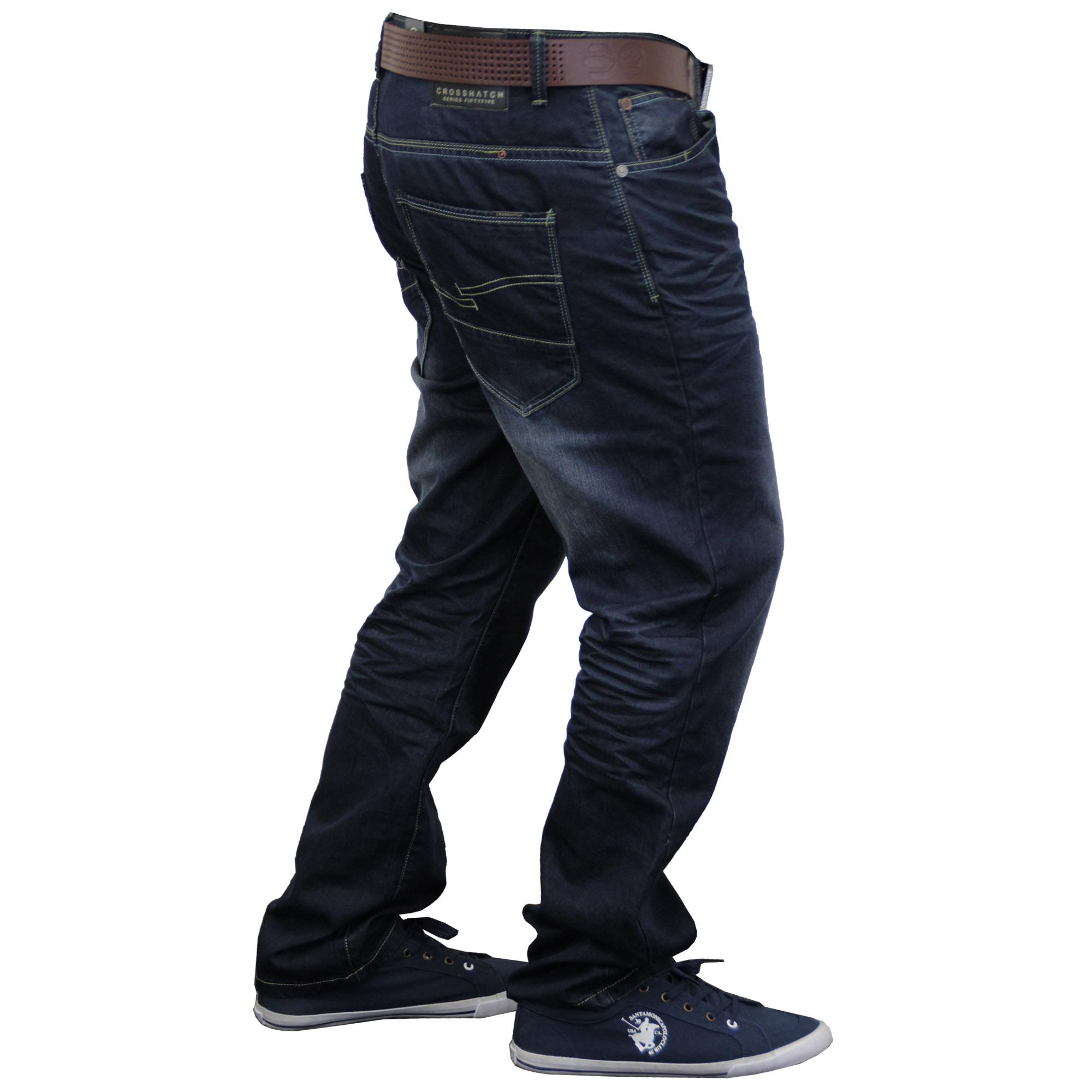Mens-Denim-Jeans-Crosshatch-Bottoms-Trousers-FREE-BELT-Straight-Leg-Pants-Casual