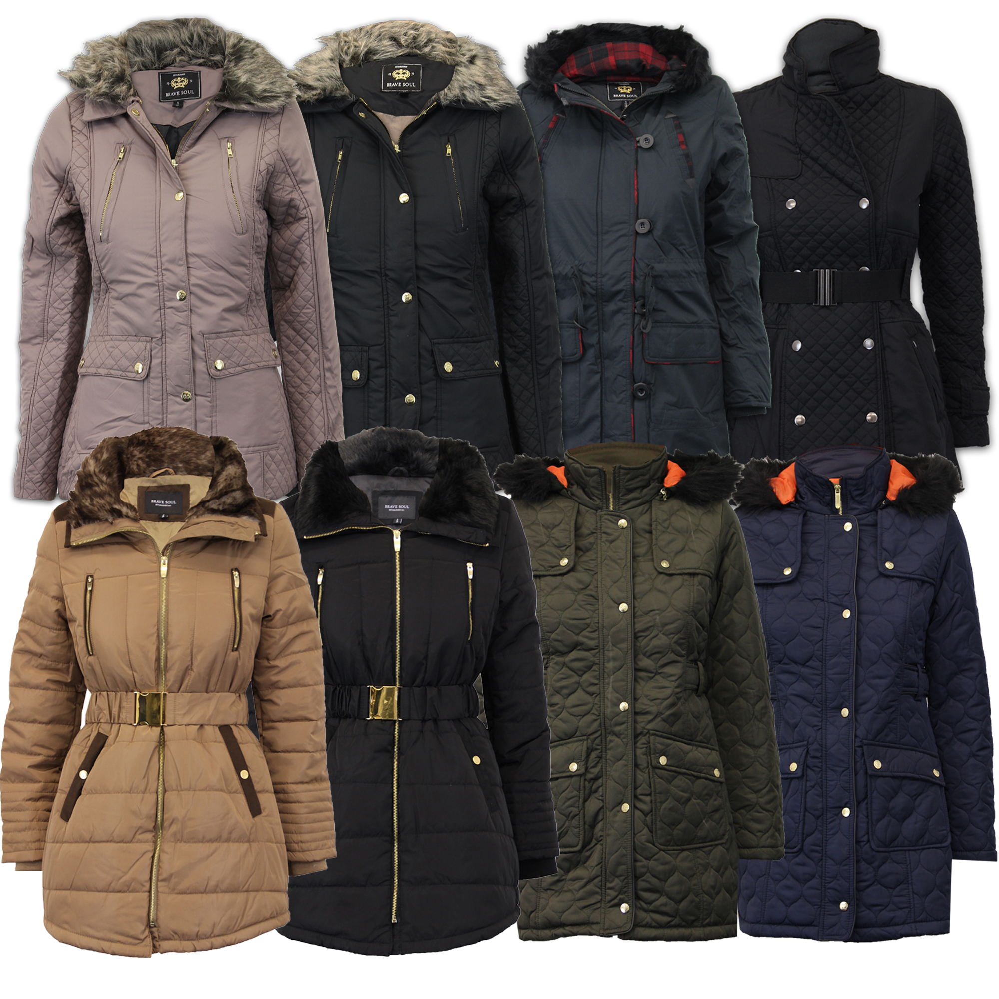 ladies jacket womens Brave Soul parka coat padded hooded fur Belt ...