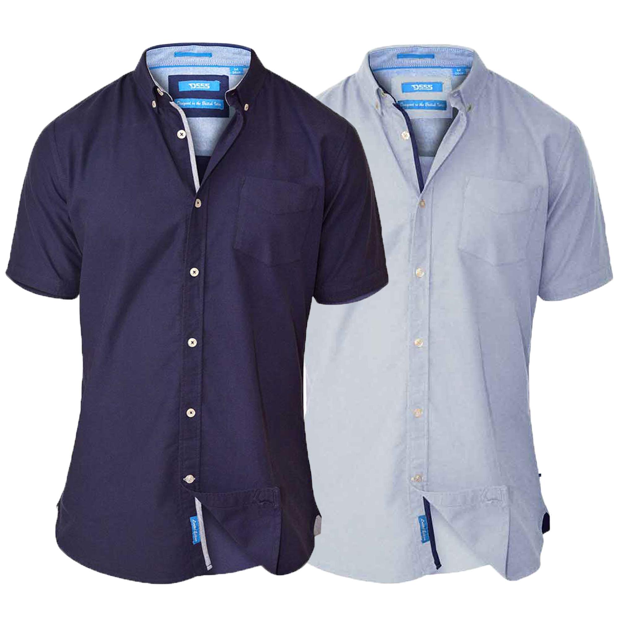 Mens-Cotton-Chambray-Shirt-D555-Duke-Short-Sleeved-Big-King-Size-Casual-Summer thumbnail 3