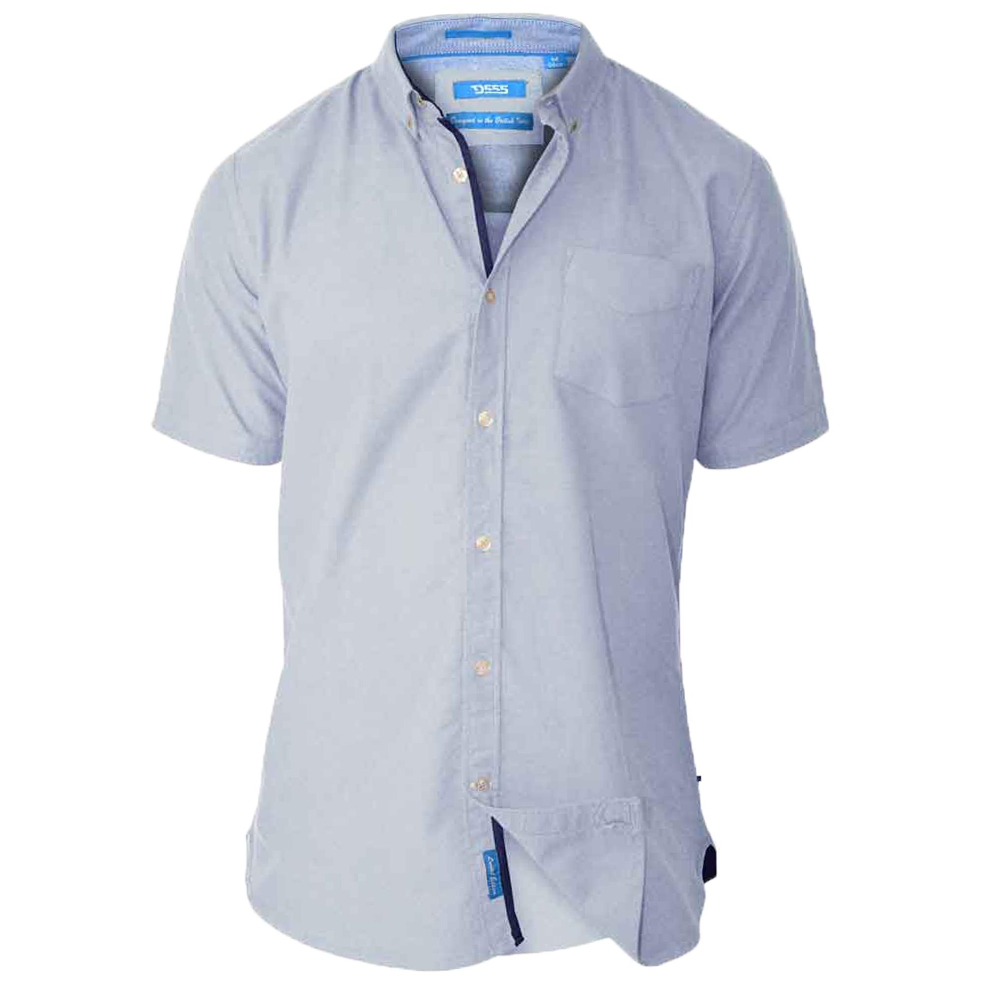 Mens-Cotton-Chambray-Shirt-D555-Duke-Short-Sleeved-Big-King-Size-Casual-Summer thumbnail 2