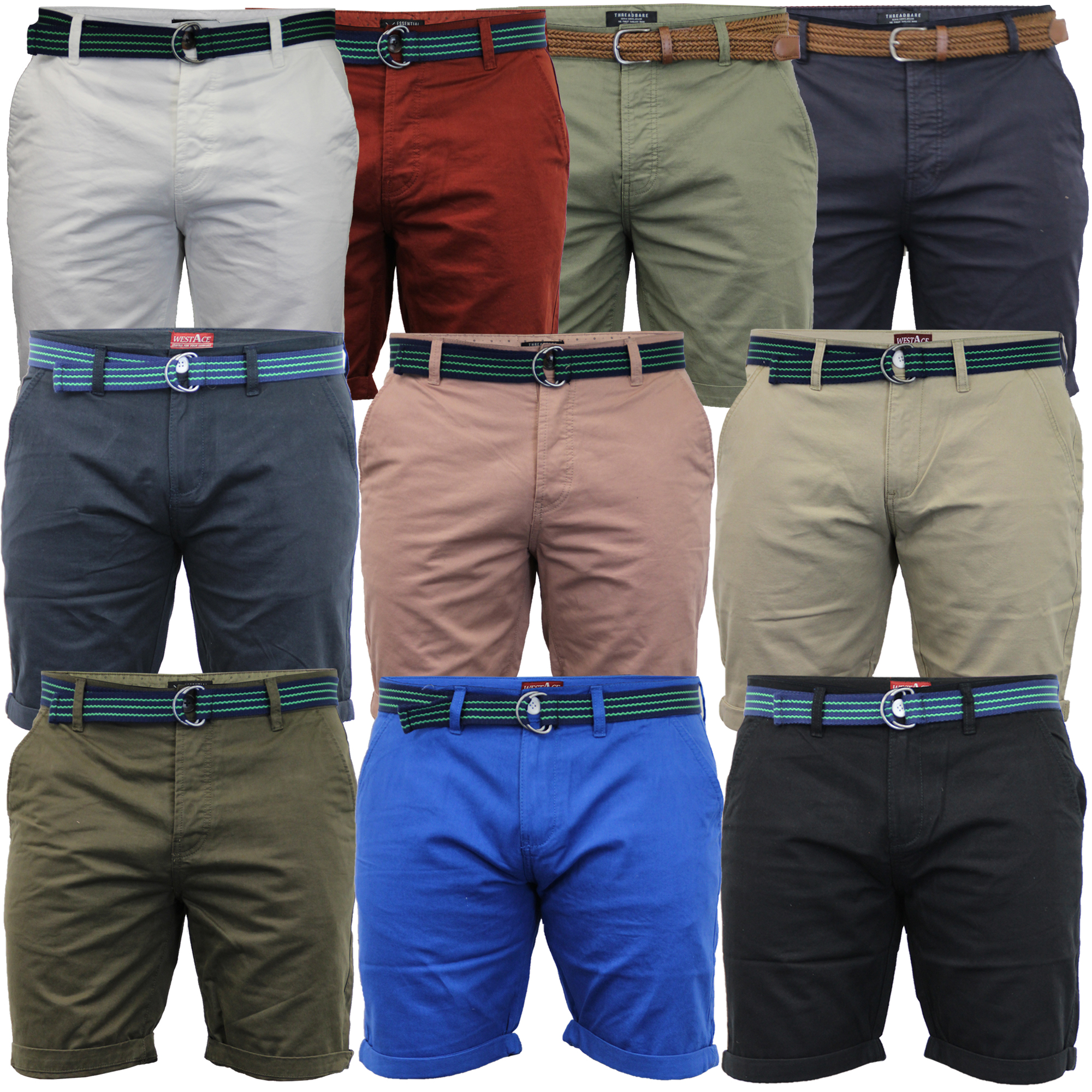 Mens-Chino-Shorts-Threadbare-Belted-Westace-Pants-Knee-Length-Roll-Up-Summer-New thumbnail 4