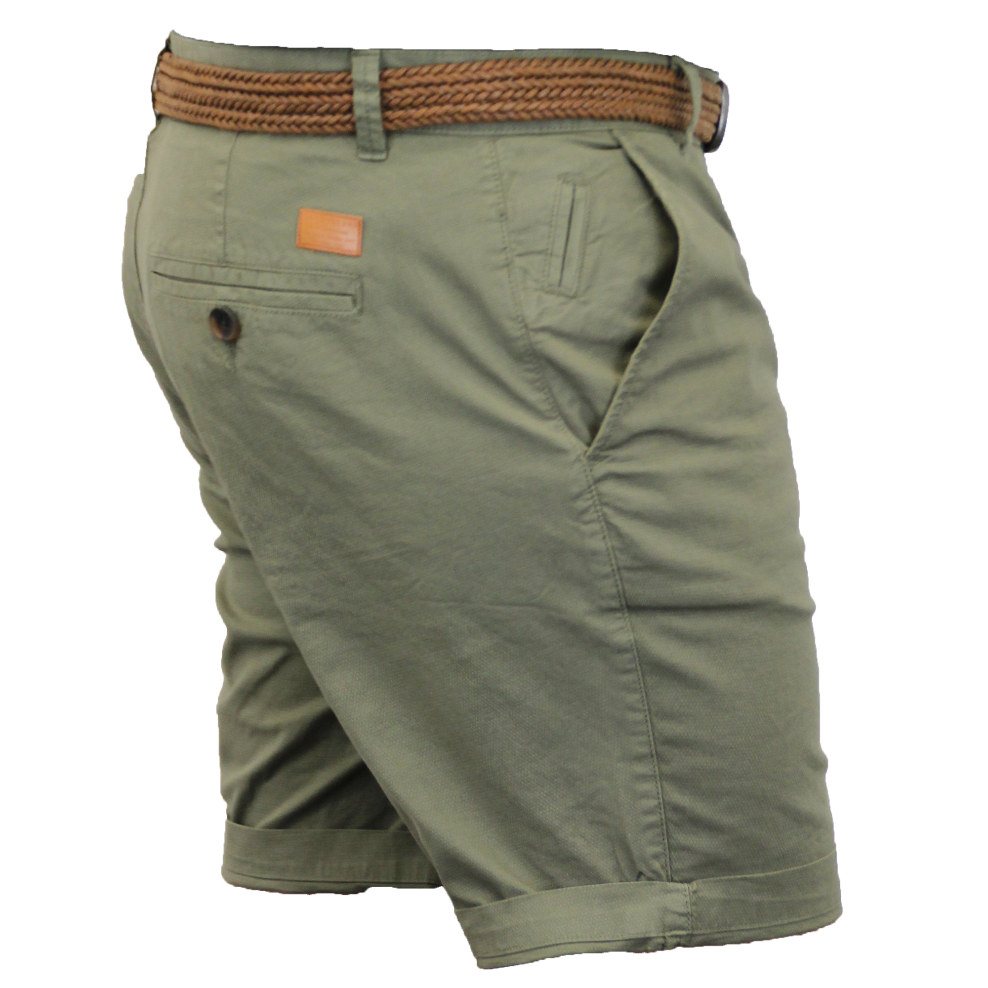 Mens-Chino-Shorts-Threadbare-Belted-Westace-Pants-Knee-Length-Roll-Up-Summer-New thumbnail 6