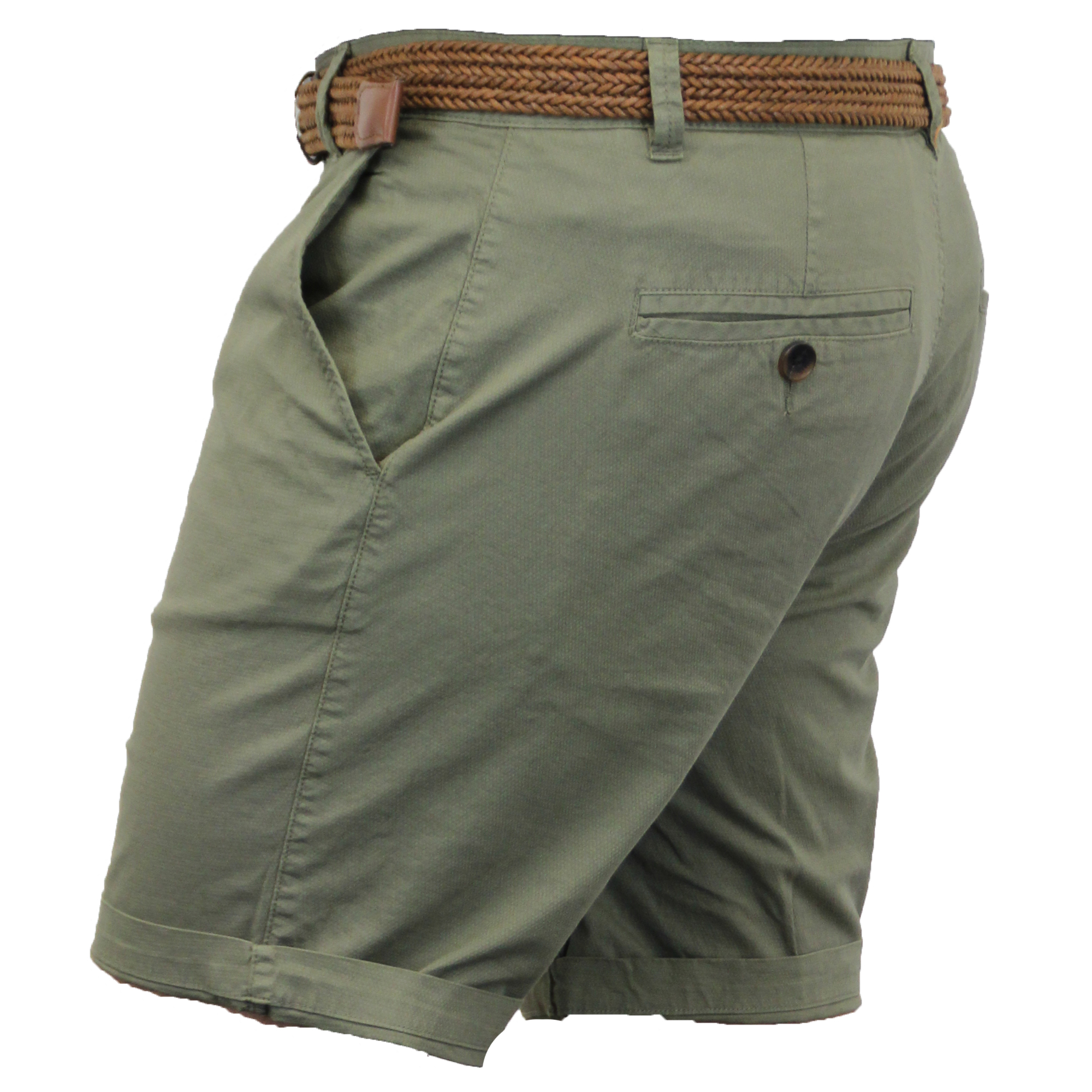 Mens-Chino-Shorts-Threadbare-Belted-Westace-Pants-Knee-Length-Roll-Up-Summer-New thumbnail 7