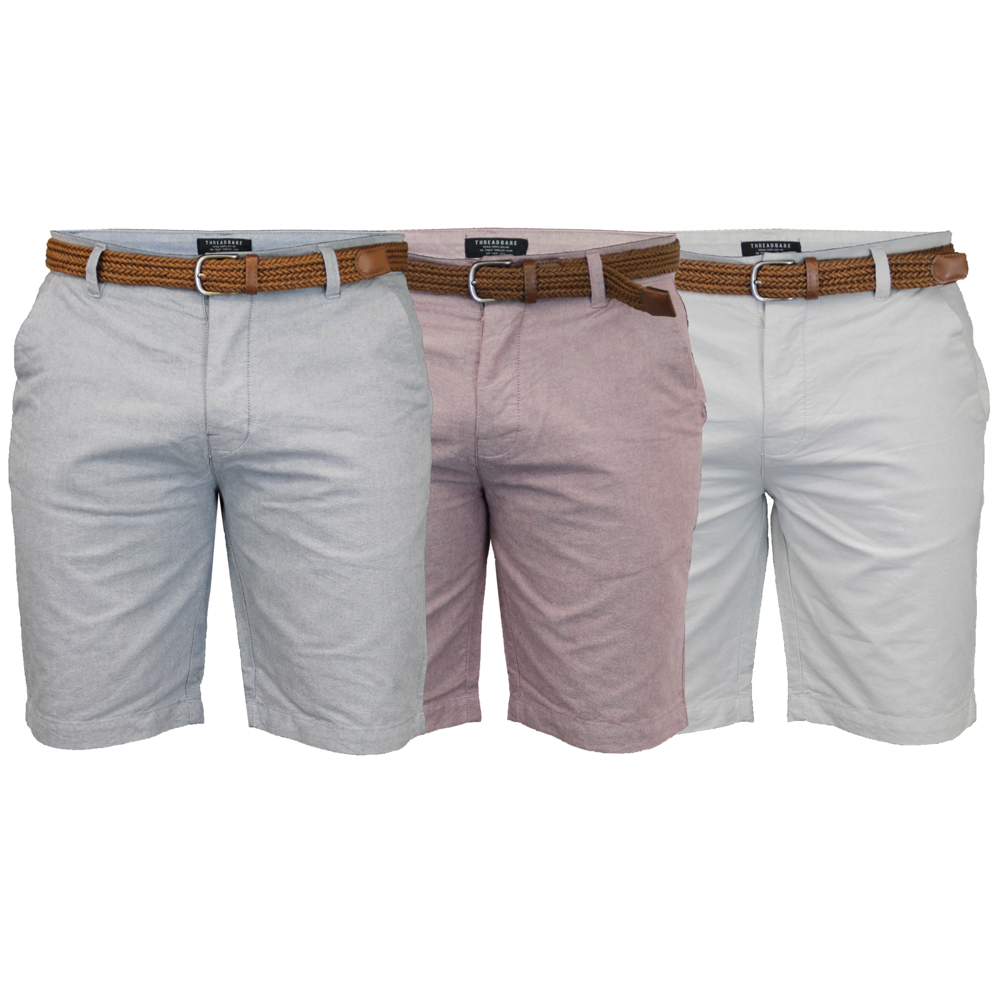 Mens-Cotton-Oxford-Chino-Shorts-Threadbare-Belted-Pants-Knee-Length-Summer-New thumbnail 6