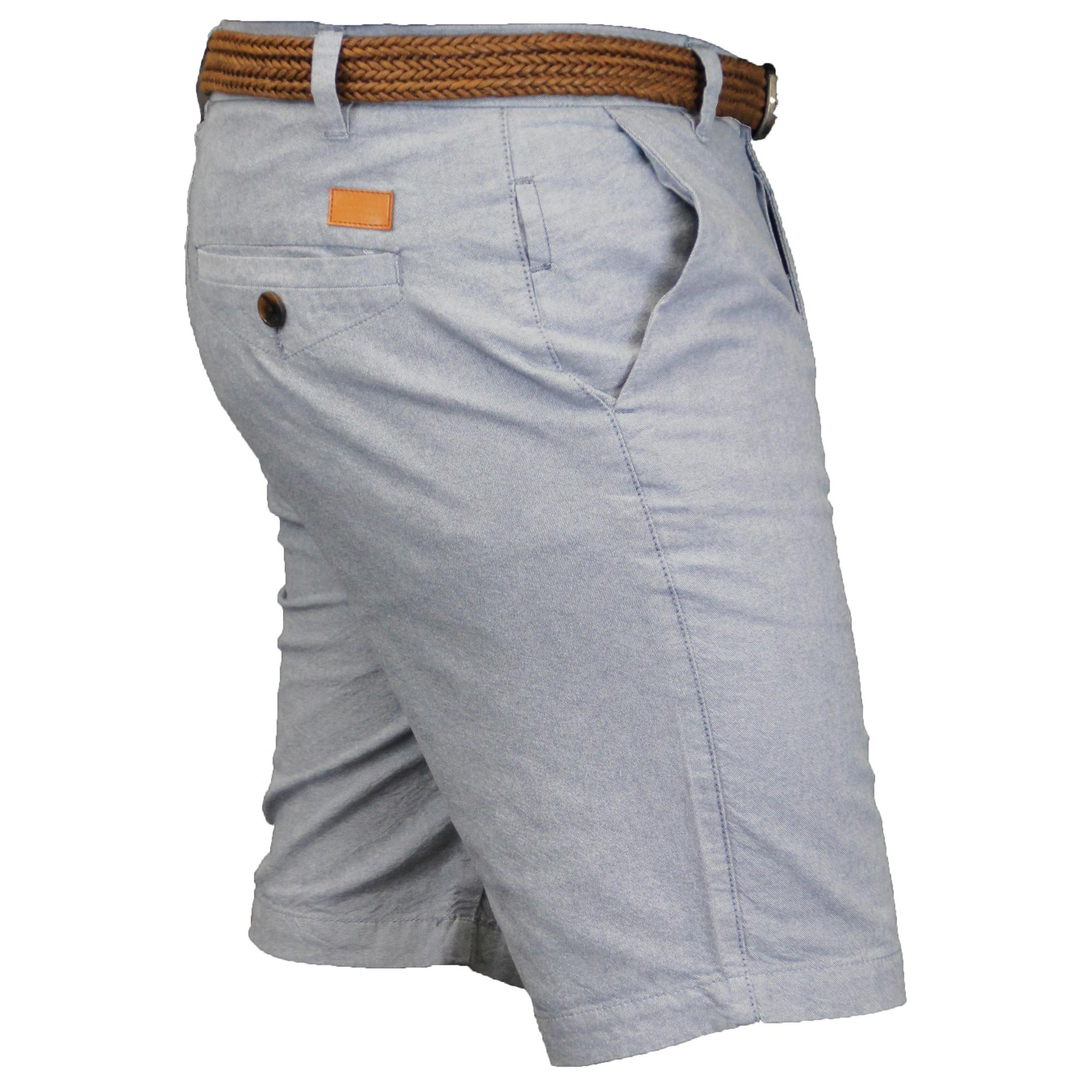 Mens-Cotton-Oxford-Chino-Shorts-Threadbare-Belted-Pants-Knee-Length-Summer-New thumbnail 3
