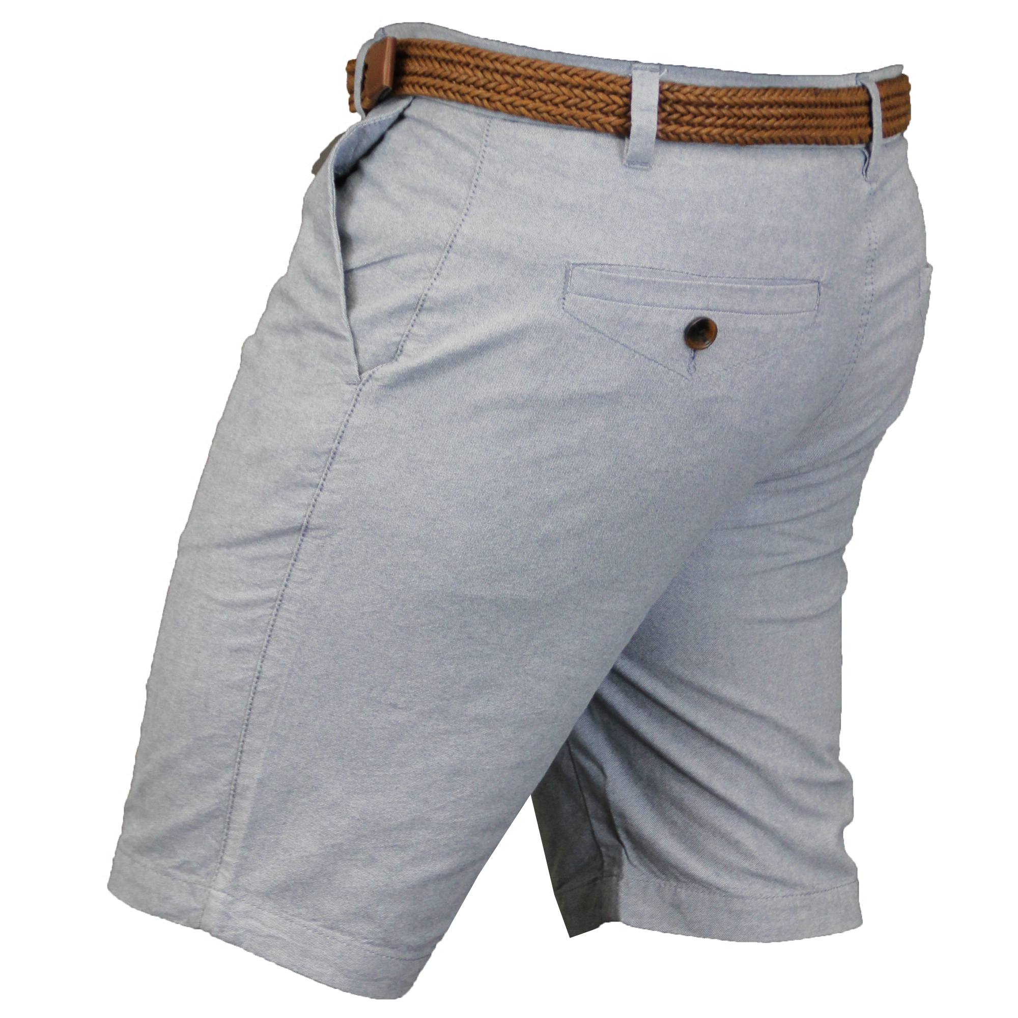 Mens-Cotton-Oxford-Chino-Shorts-Threadbare-Belted-Pants-Knee-Length-Summer-New thumbnail 4