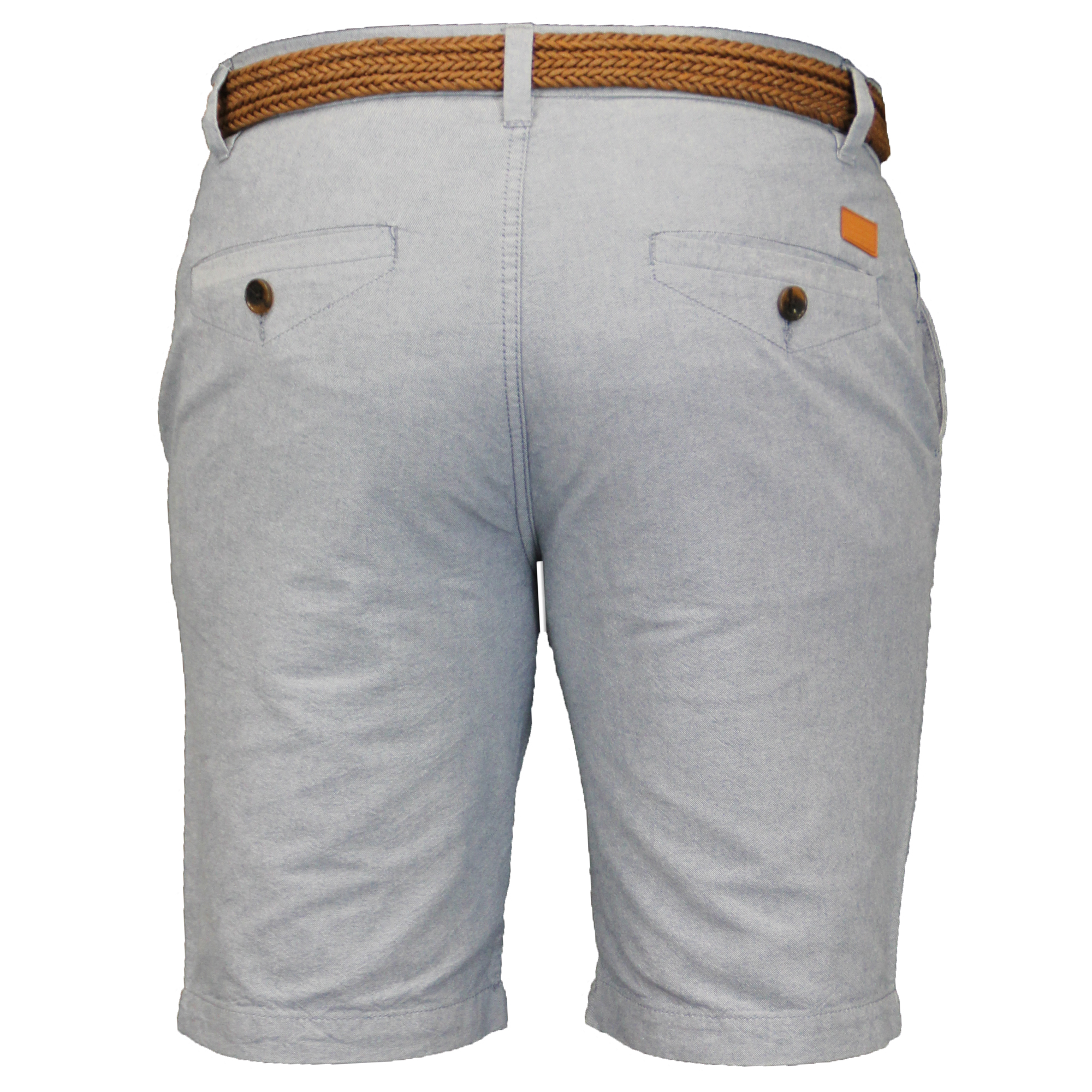 Mens-Cotton-Oxford-Chino-Shorts-Threadbare-Belted-Pants-Knee-Length-Summer-New thumbnail 5