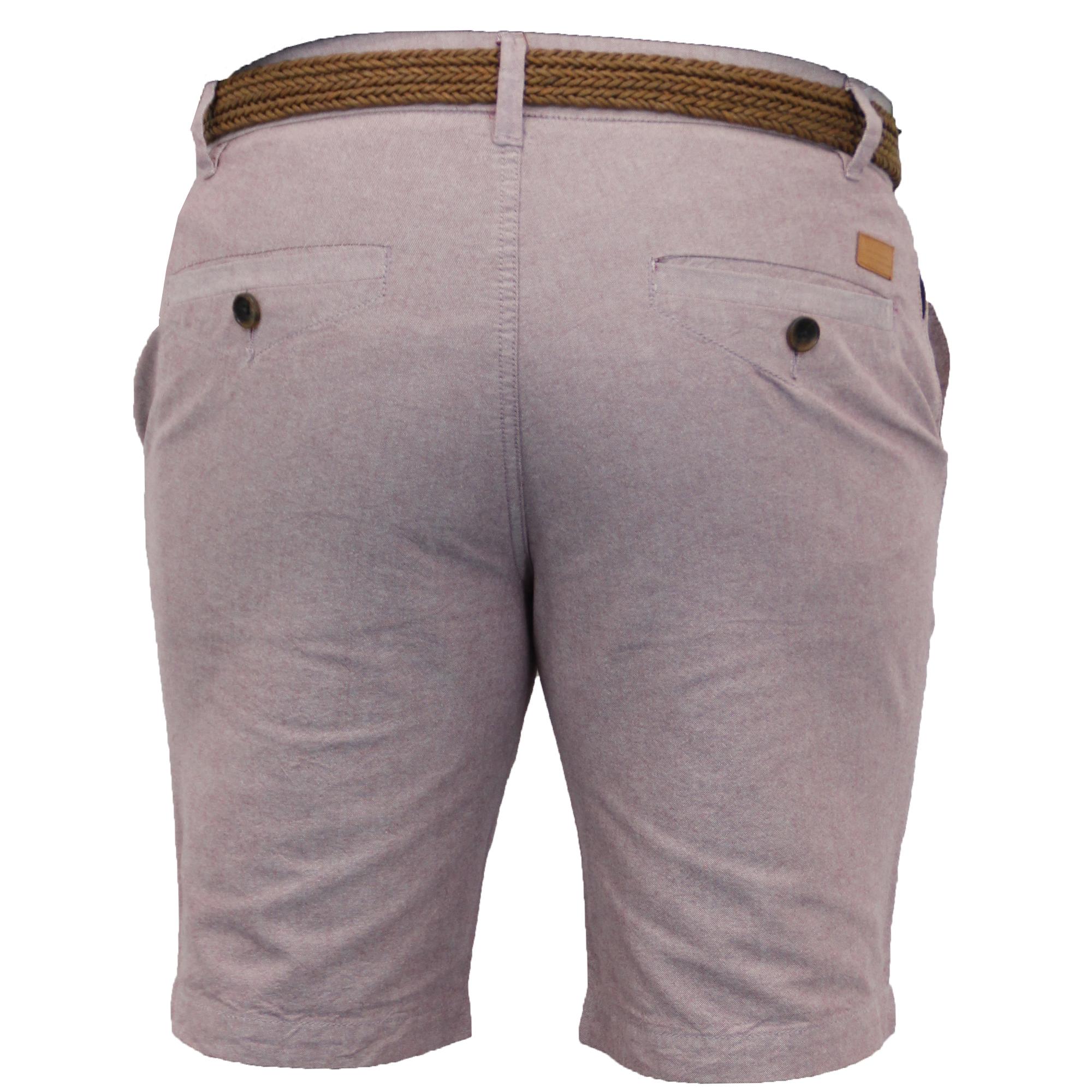 Mens-Cotton-Oxford-Chino-Shorts-Threadbare-Belted-Pants-Knee-Length-Summer-New thumbnail 8