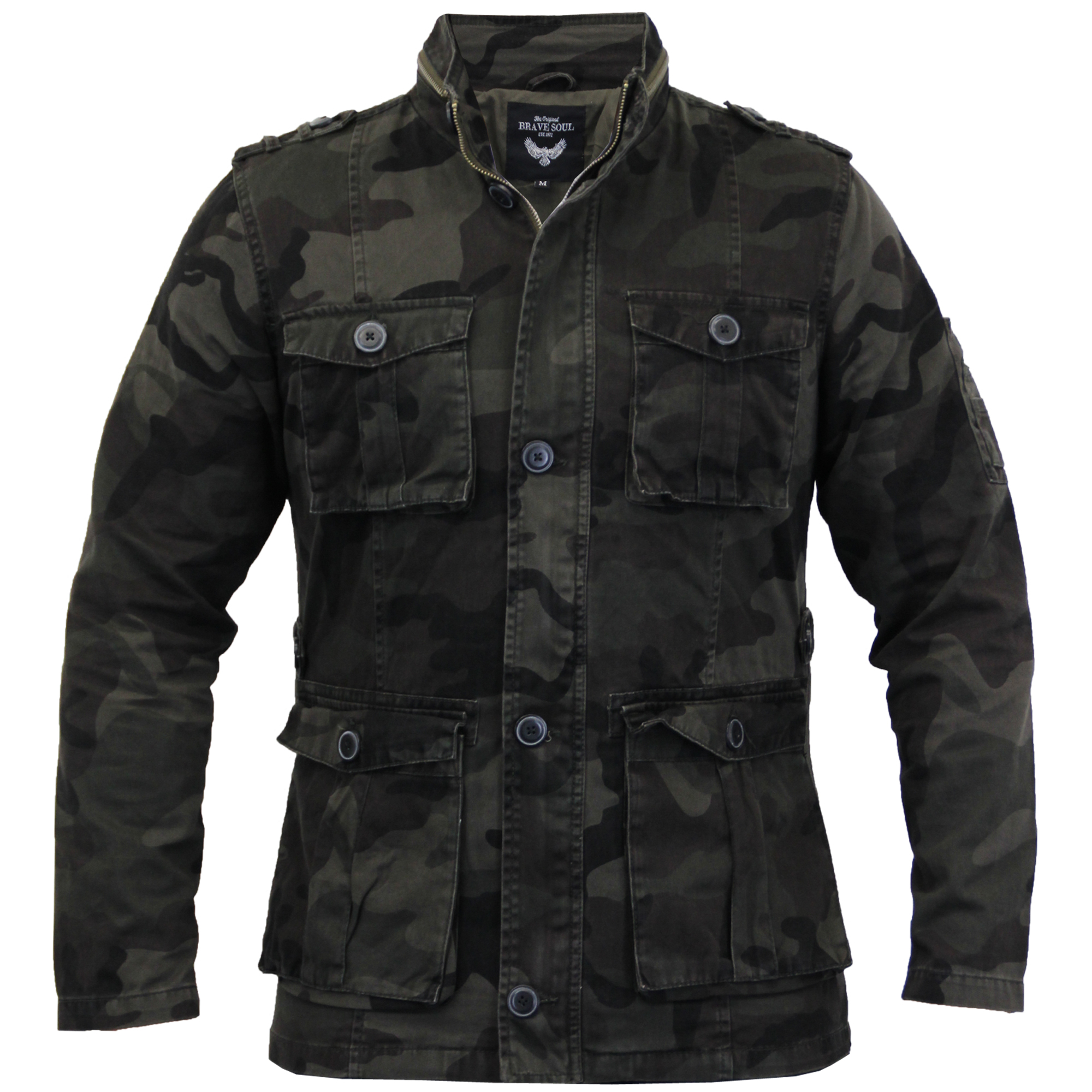 mens camouflage jacket brave soul coat military army epaulette summer casual new ebay. Black Bedroom Furniture Sets. Home Design Ideas