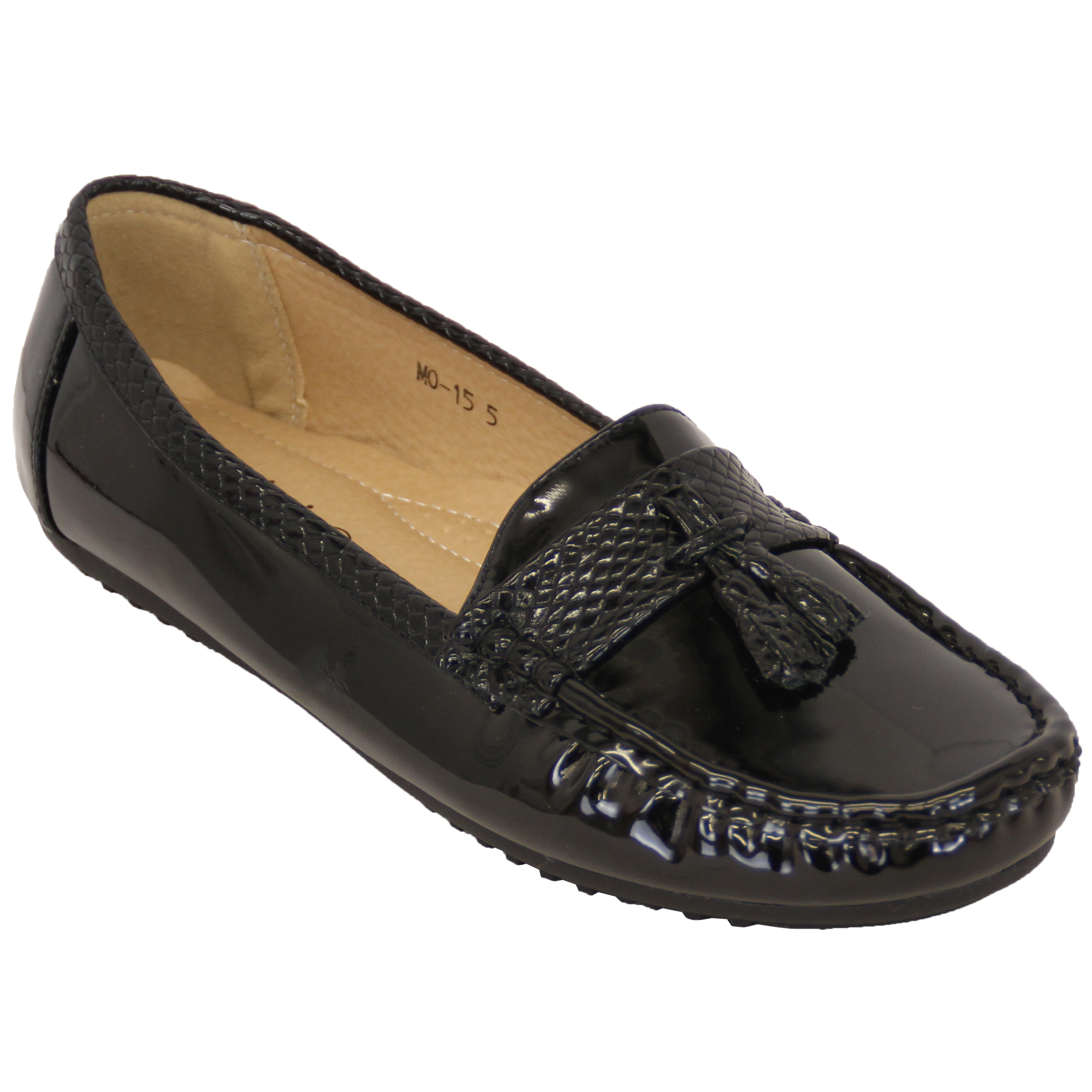ladies loafers womens kelsi slip on shoes leather look