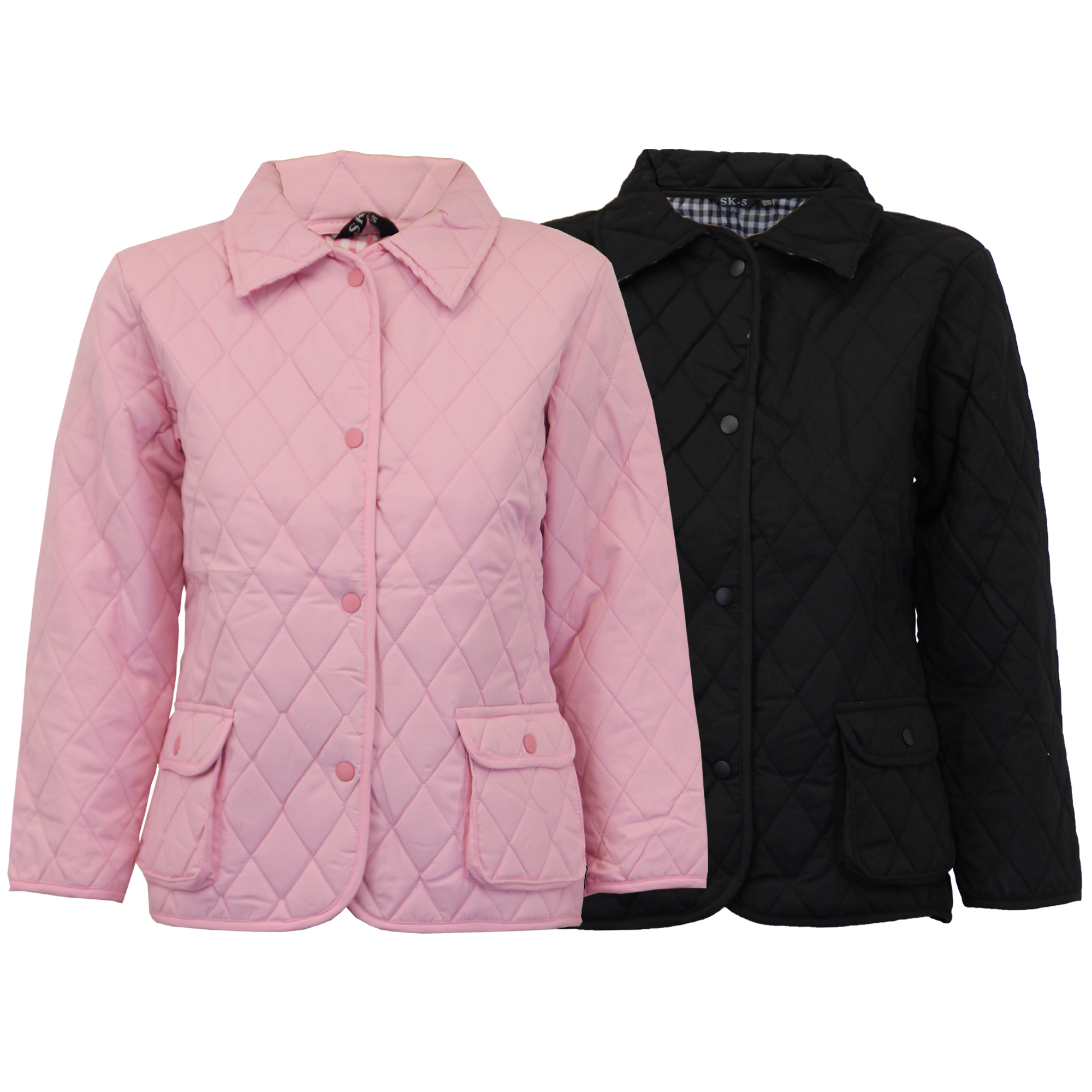 1fd9652b2 Girls Diamond Quilted Padded Jacket Kids Coat Checked Tartan Lined ...