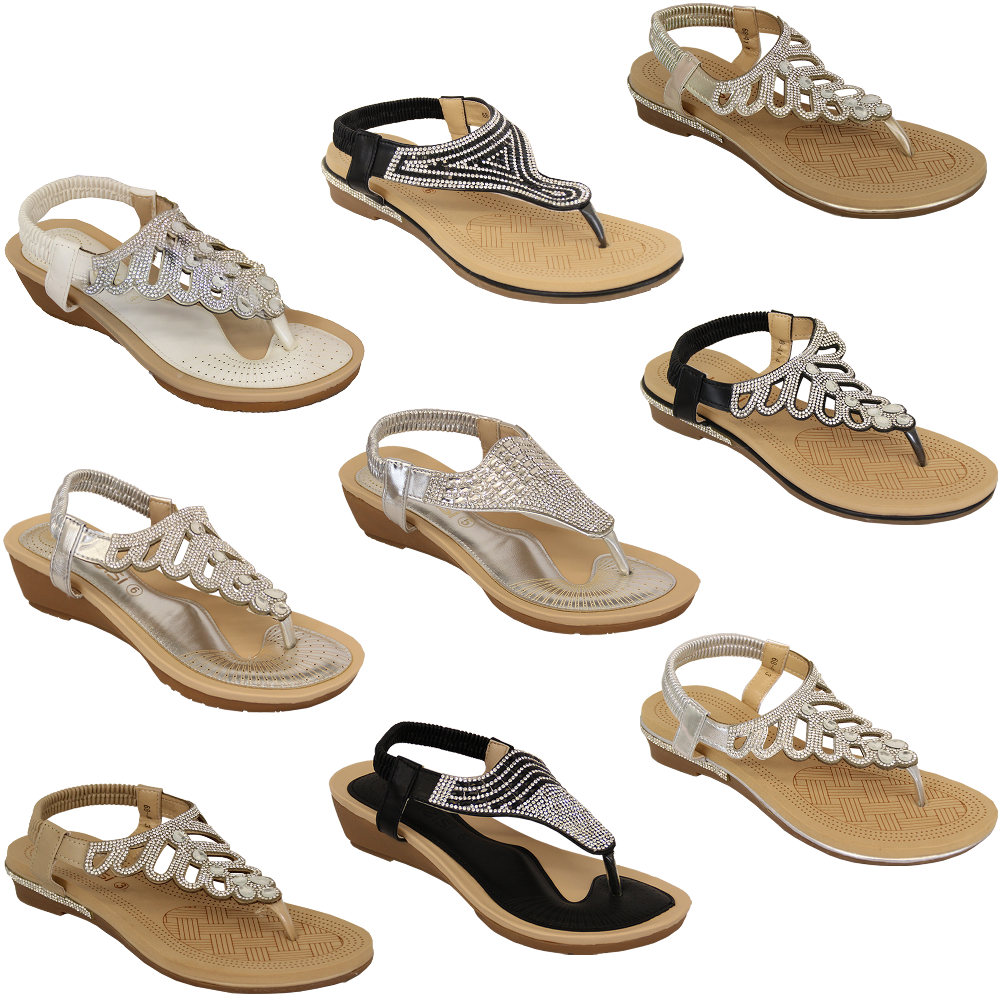 Ladies-Sandals-Kelsi-Womens-Diamante-Slip-On-Toe-Post-Shoes-Casual-Fashion-New thumbnail 5