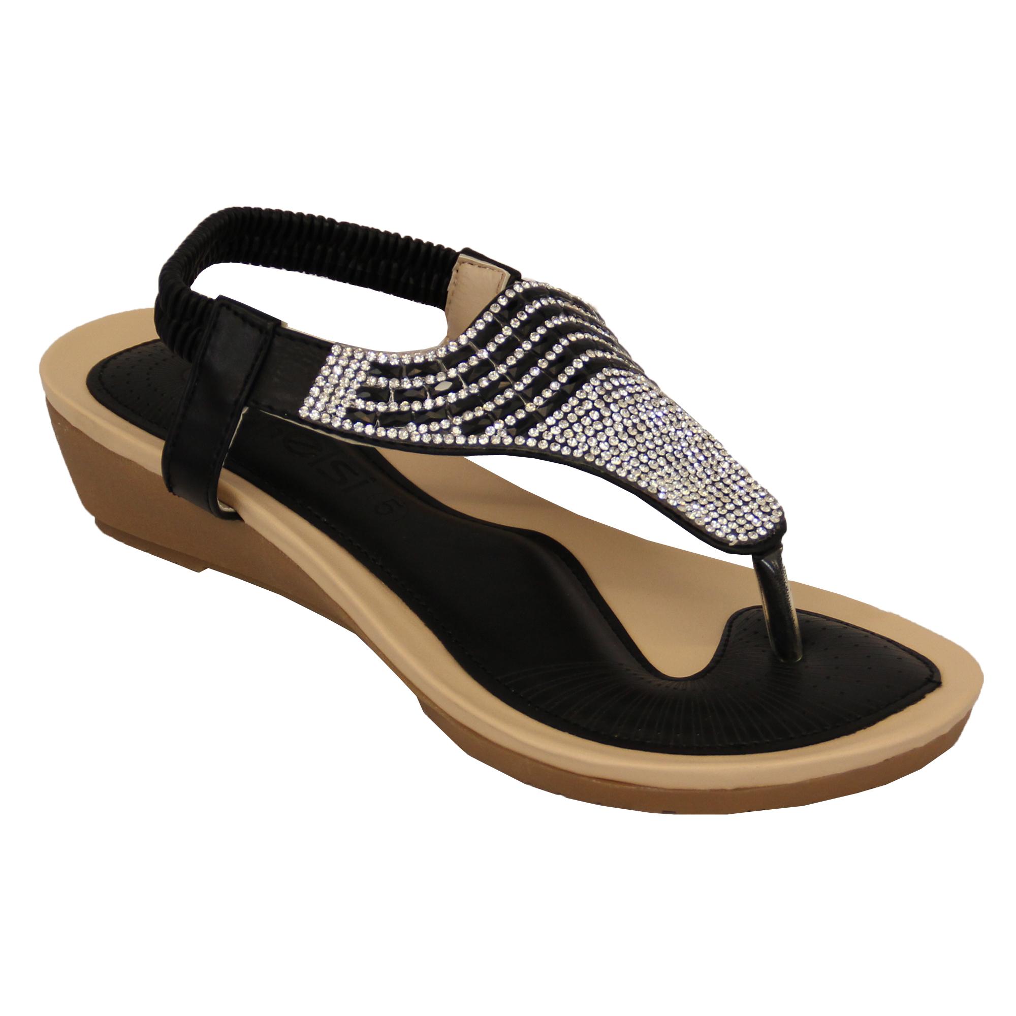 Ladies Sandals Kelsi Womens Diamante Slip On Toe Post ...