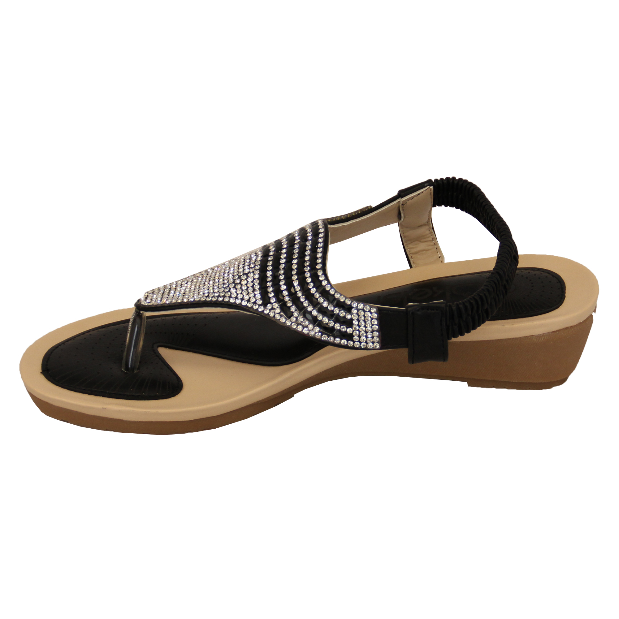 Ladies-Sandals-Kelsi-Womens-Diamante-Slip-On-Toe-Post-Shoes-Casual-Fashion-New thumbnail 7