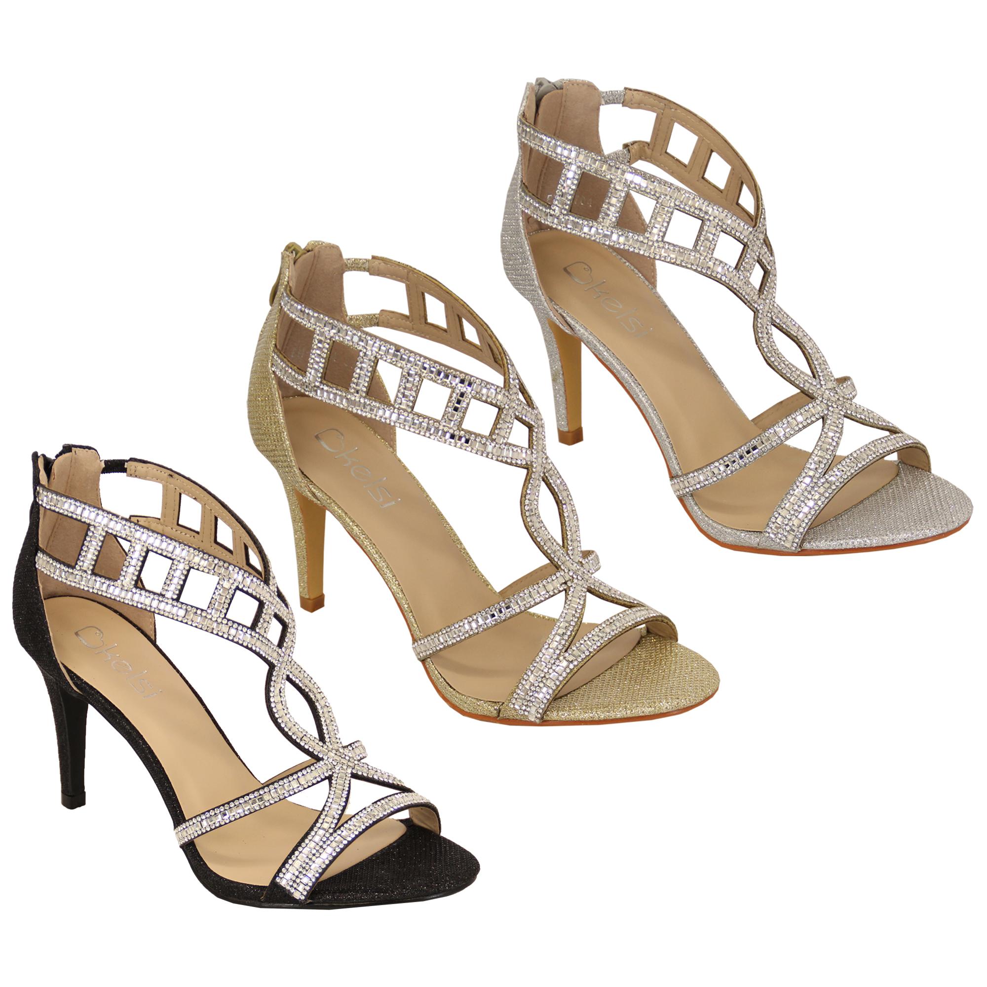 f268d1b2b Details about ladies sandals Kelsi womens ankle glitter diamante pencil  heel open toe shoes