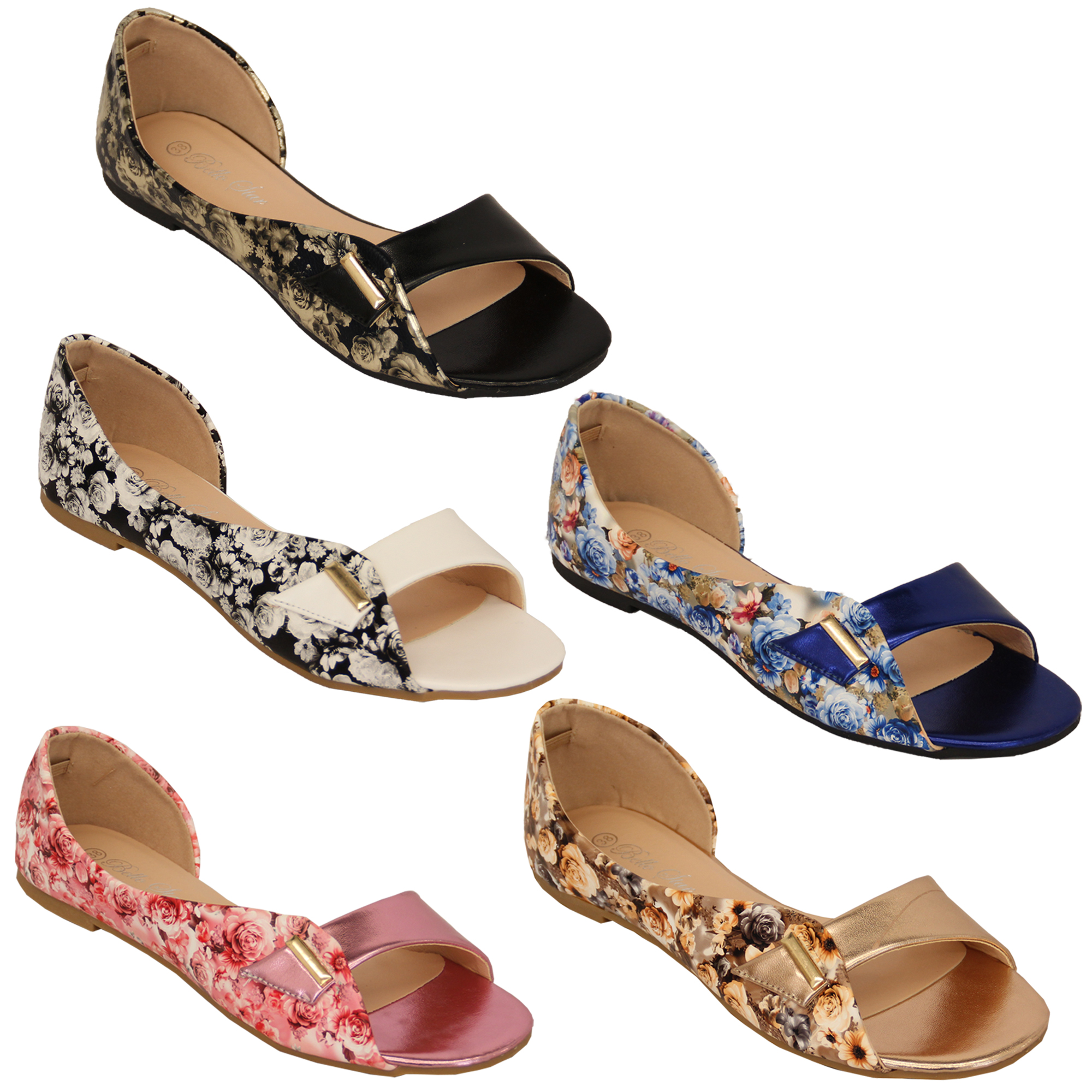 Details about ladies flat sandals floral print womens slip on open toe bella star casual shoes