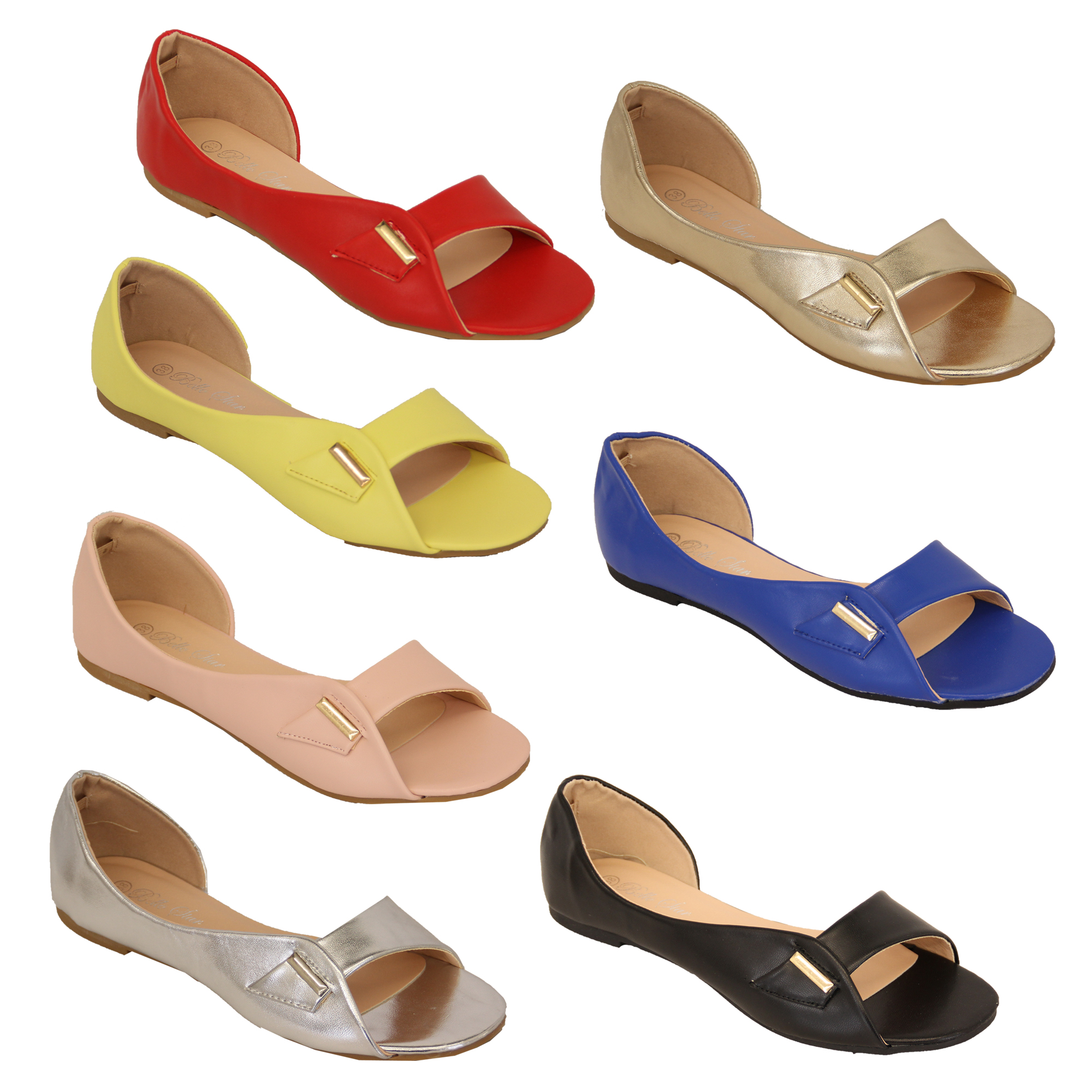 0d4595347 Details about ladies flat sandals womens slip on open toe Bella Star casual  shoes fashion new