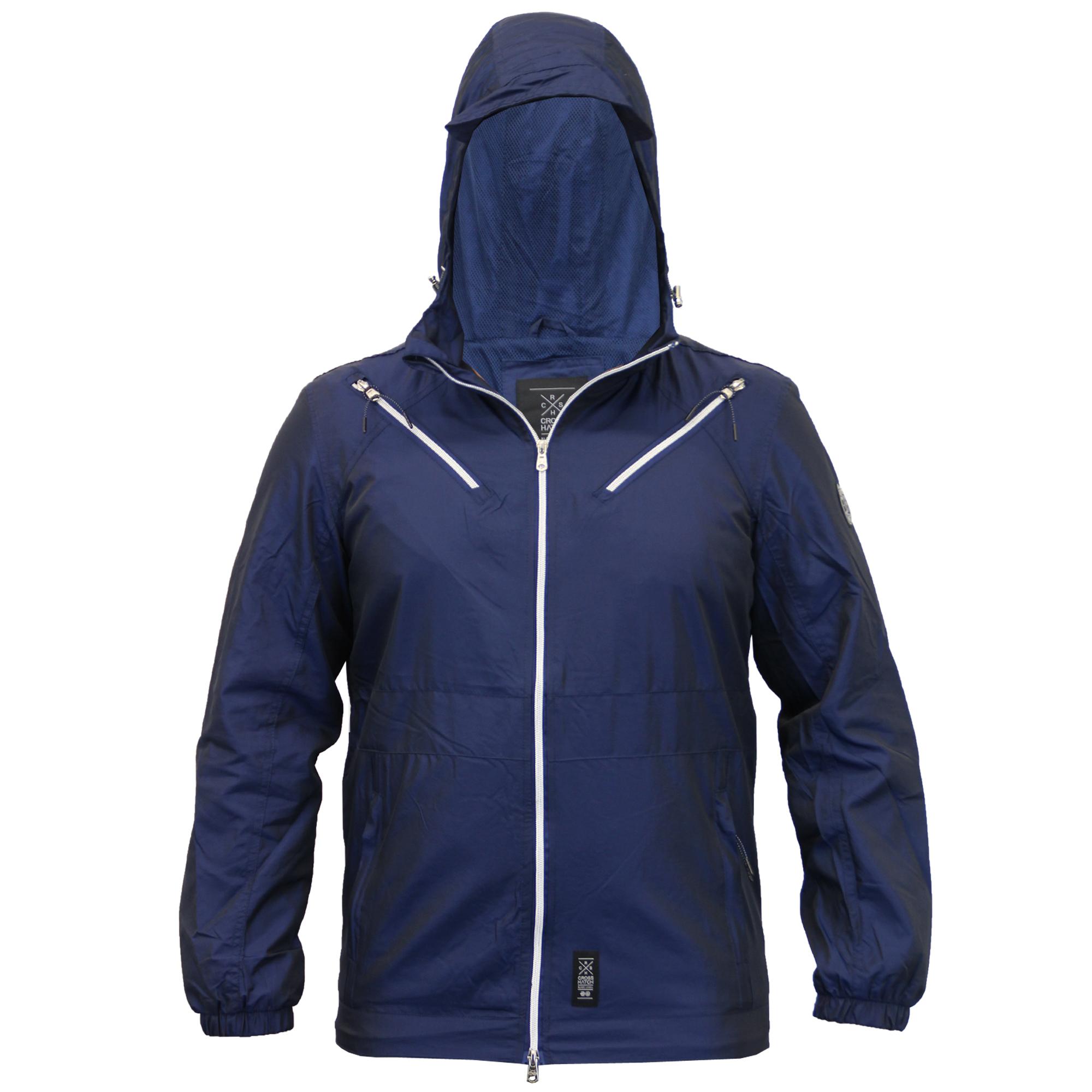 Mens-Windbreaker-Jacket-Crosshatch-Coat-Hooded-Mesh-Lined-Zip-Casual-Summer-New thumbnail 7