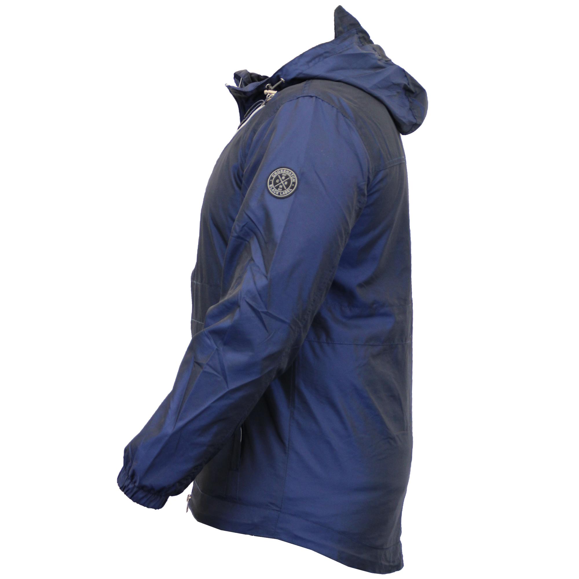Mens-Windbreaker-Jacket-Crosshatch-Coat-Hooded-Mesh-Lined-Zip-Casual-Summer-New thumbnail 8