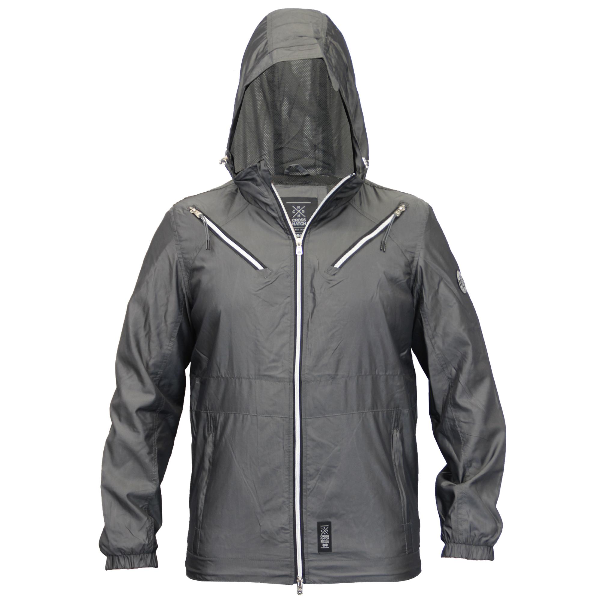 Mens-Windbreaker-Jacket-Crosshatch-Coat-Hooded-Mesh-Lined-Zip-Casual-Summer-New thumbnail 3