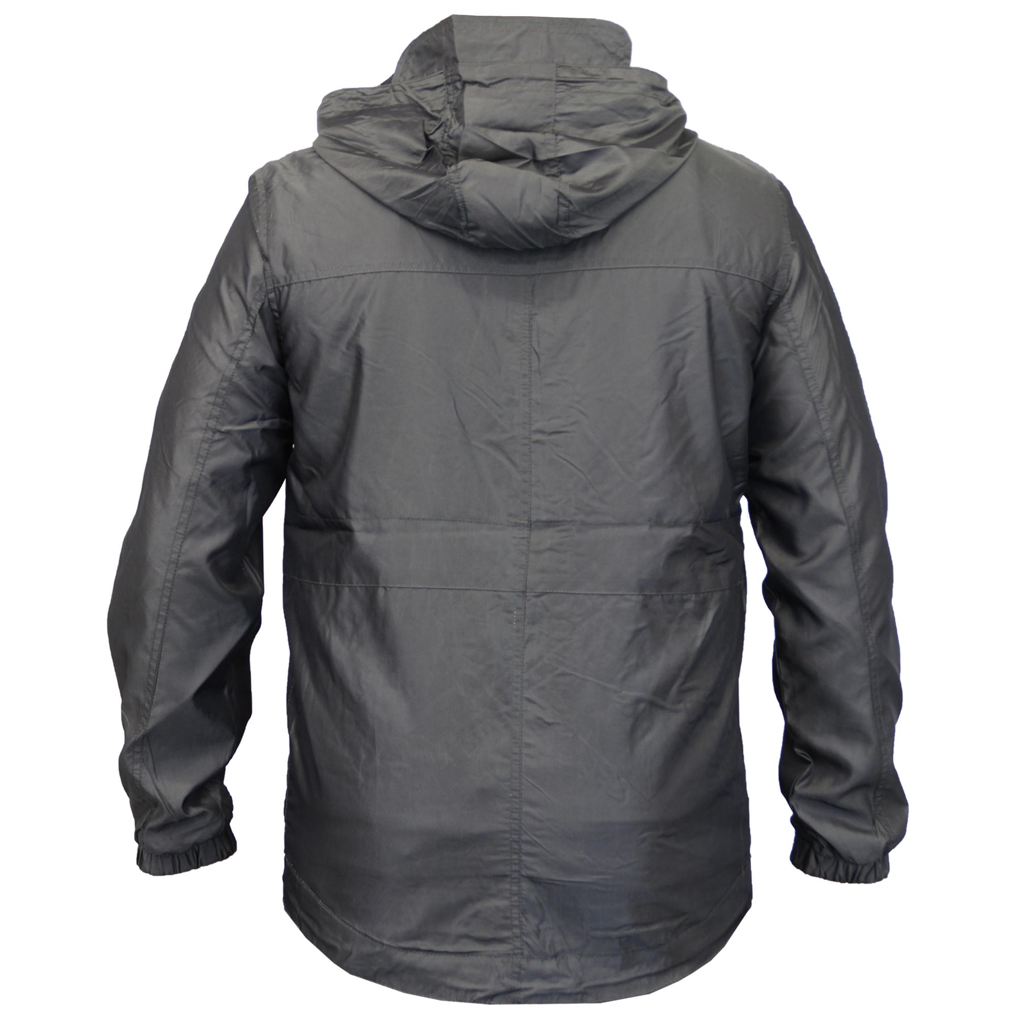 Mens-Windbreaker-Jacket-Crosshatch-Coat-Hooded-Mesh-Lined-Zip-Casual-Summer-New thumbnail 4