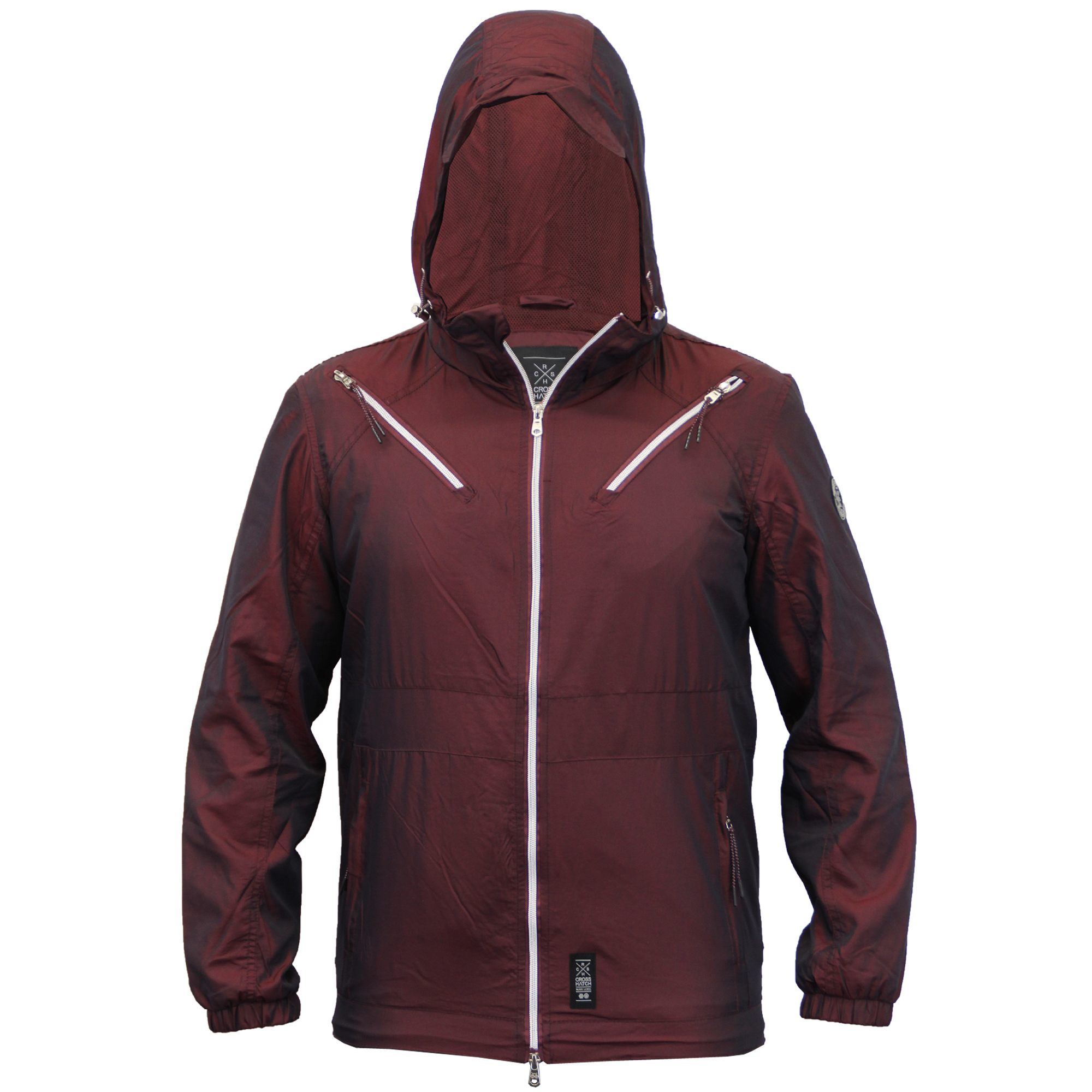 Mens-Windbreaker-Jacket-Crosshatch-Coat-Hooded-Mesh-Lined-Zip-Casual-Summer-New thumbnail 11