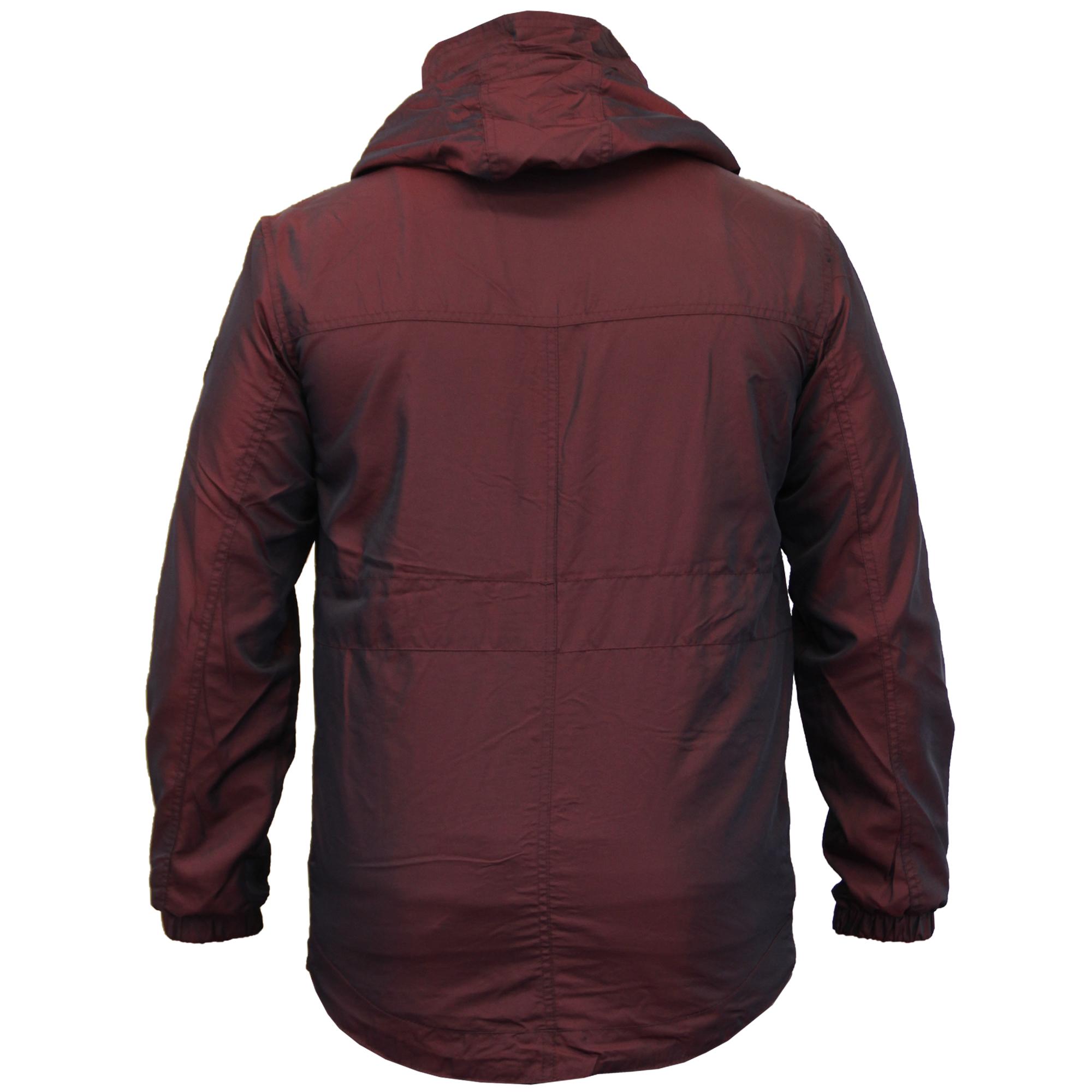 Mens-Windbreaker-Jacket-Crosshatch-Coat-Hooded-Mesh-Lined-Zip-Casual-Summer-New thumbnail 12