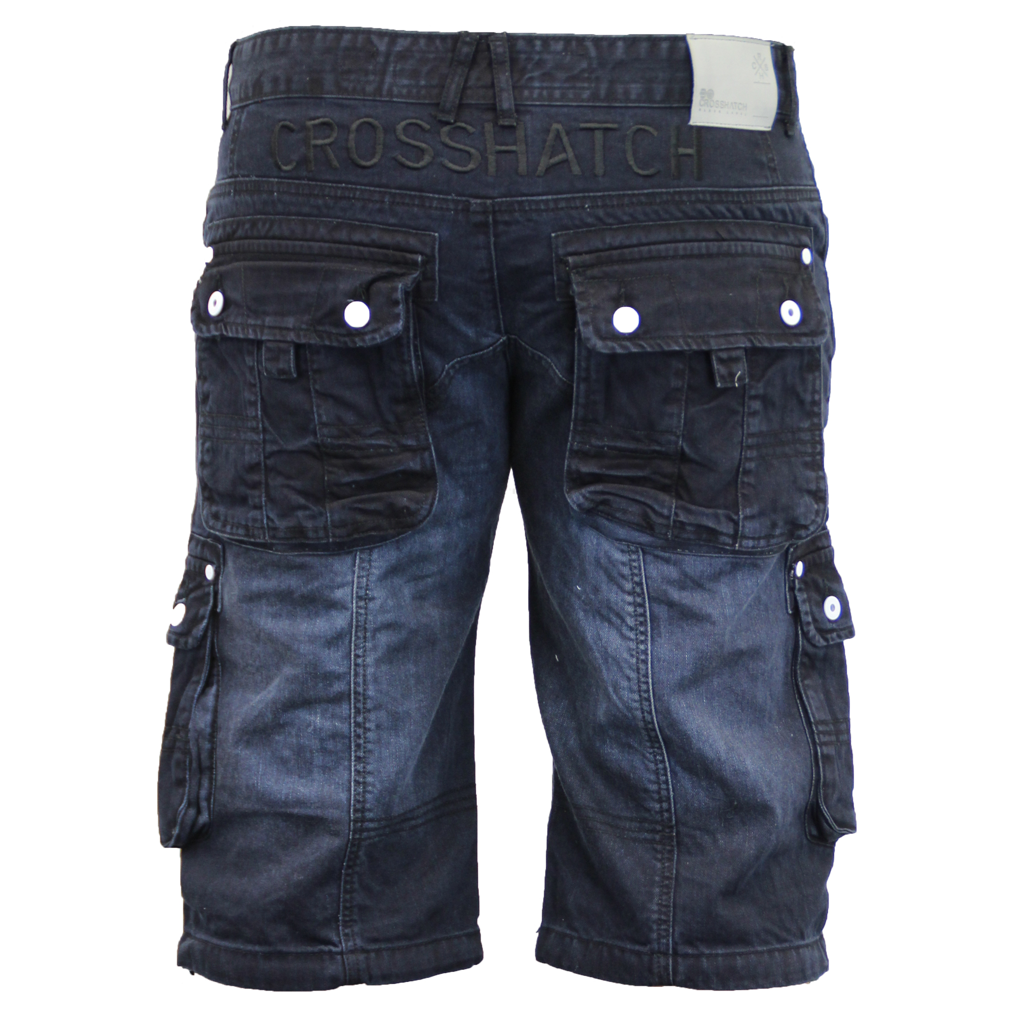 Mens-Denim-Knee-Length-Combat-Shorts-By-Crosshatch thumbnail 4