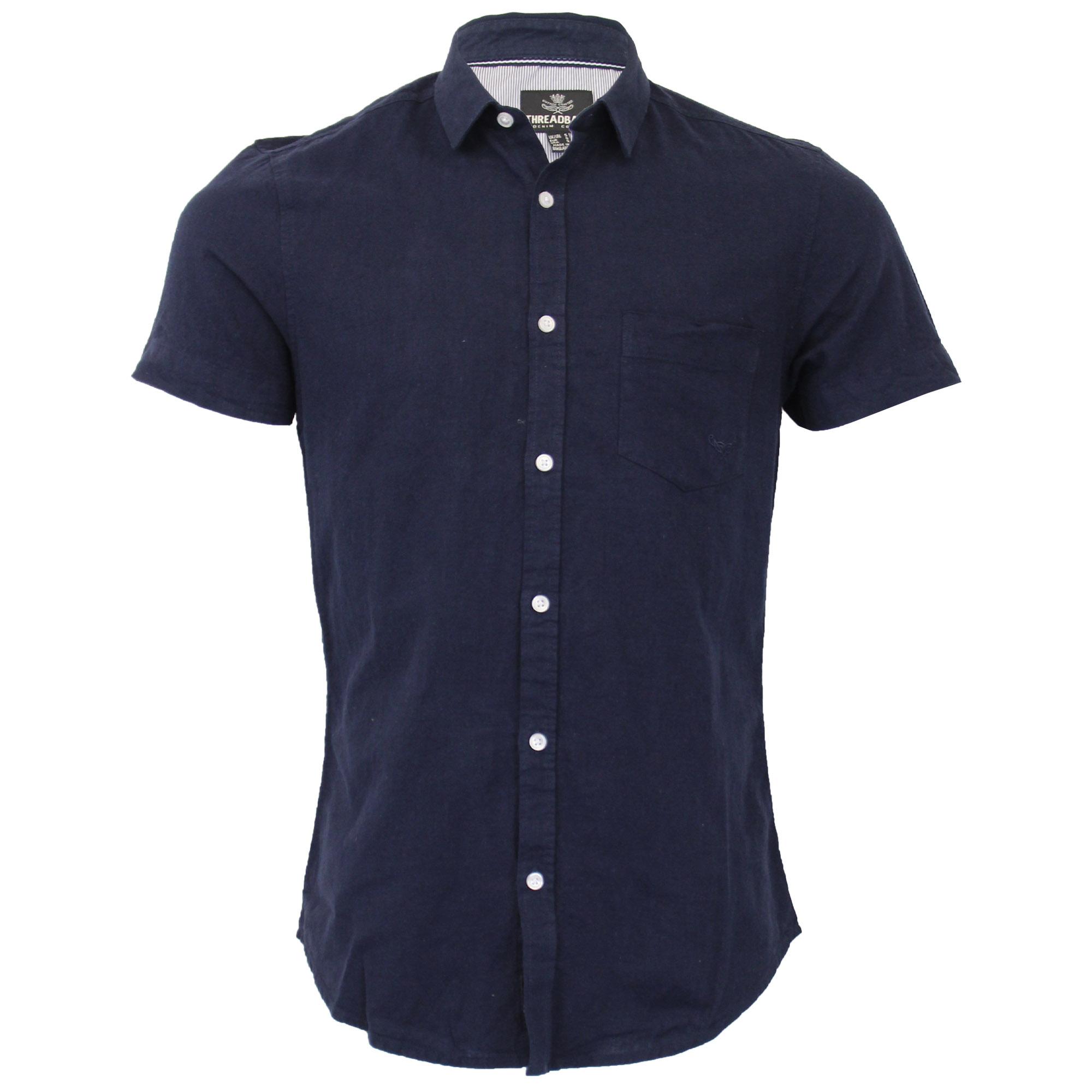 Mens-Linen-Shirt-Threadbare-Short-Sleeved-Brave-Soul-Collared-Casual-Summer-New thumbnail 16