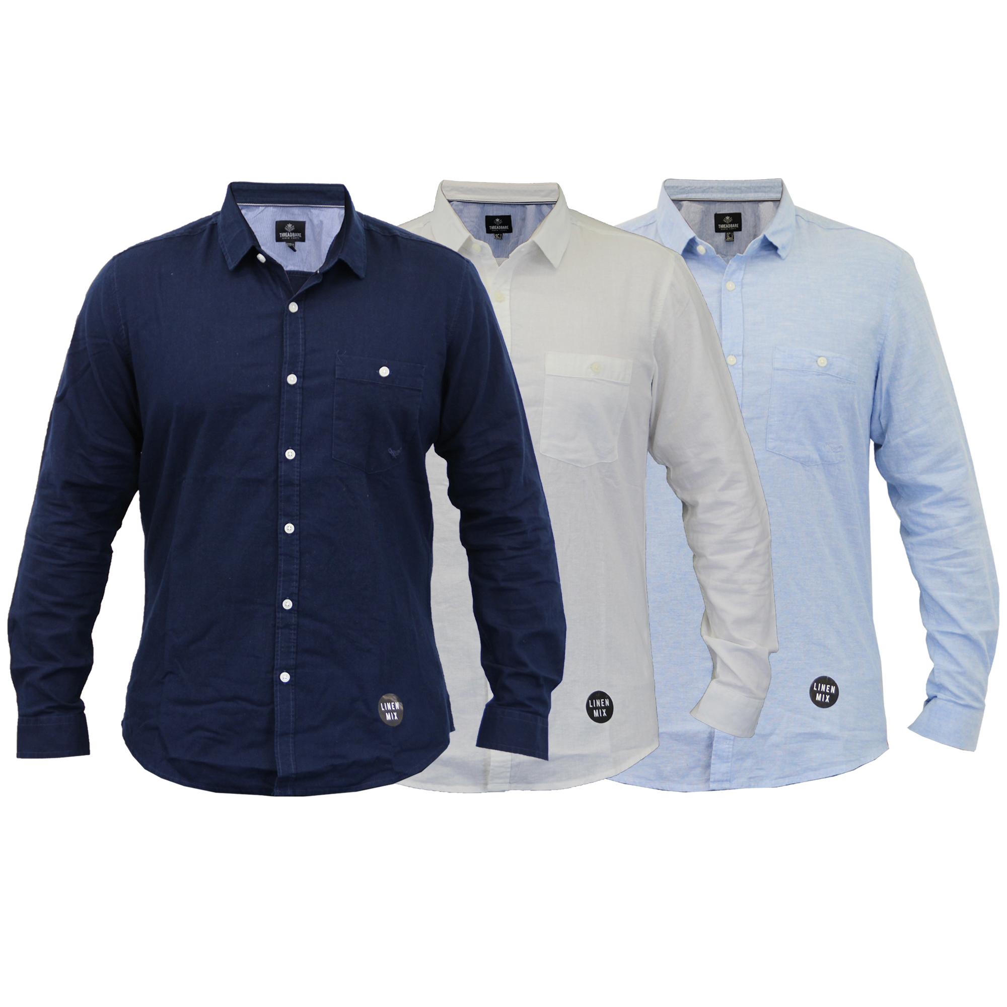 Para-hombres-camisa-de-manga-larga-con-cuello-desgastado-Lino-formales-de-trabajo-informal-de-verano miniatura 4