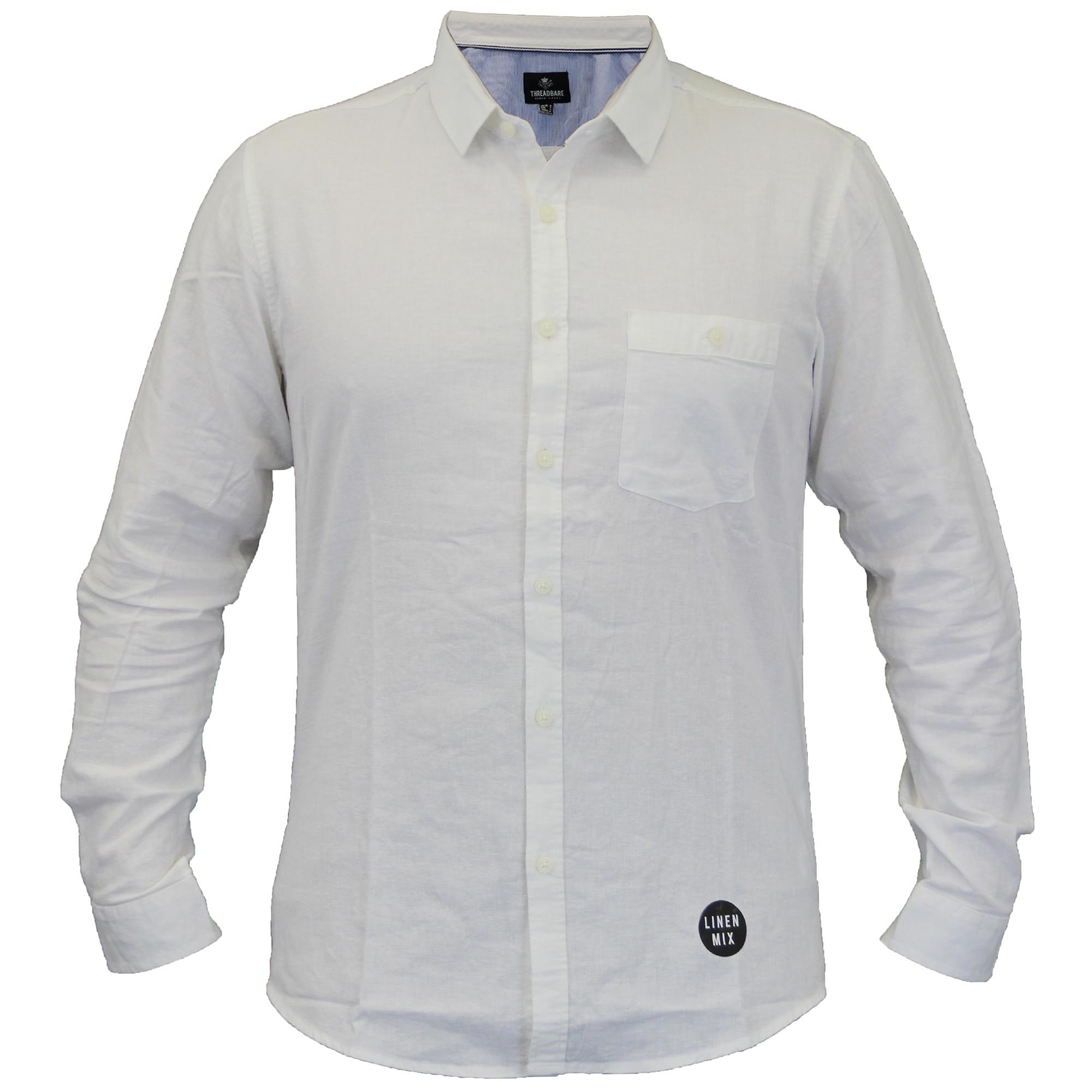 Para-hombres-camisa-de-manga-larga-con-cuello-desgastado-Lino-formales-de-trabajo-informal-de-verano miniatura 8
