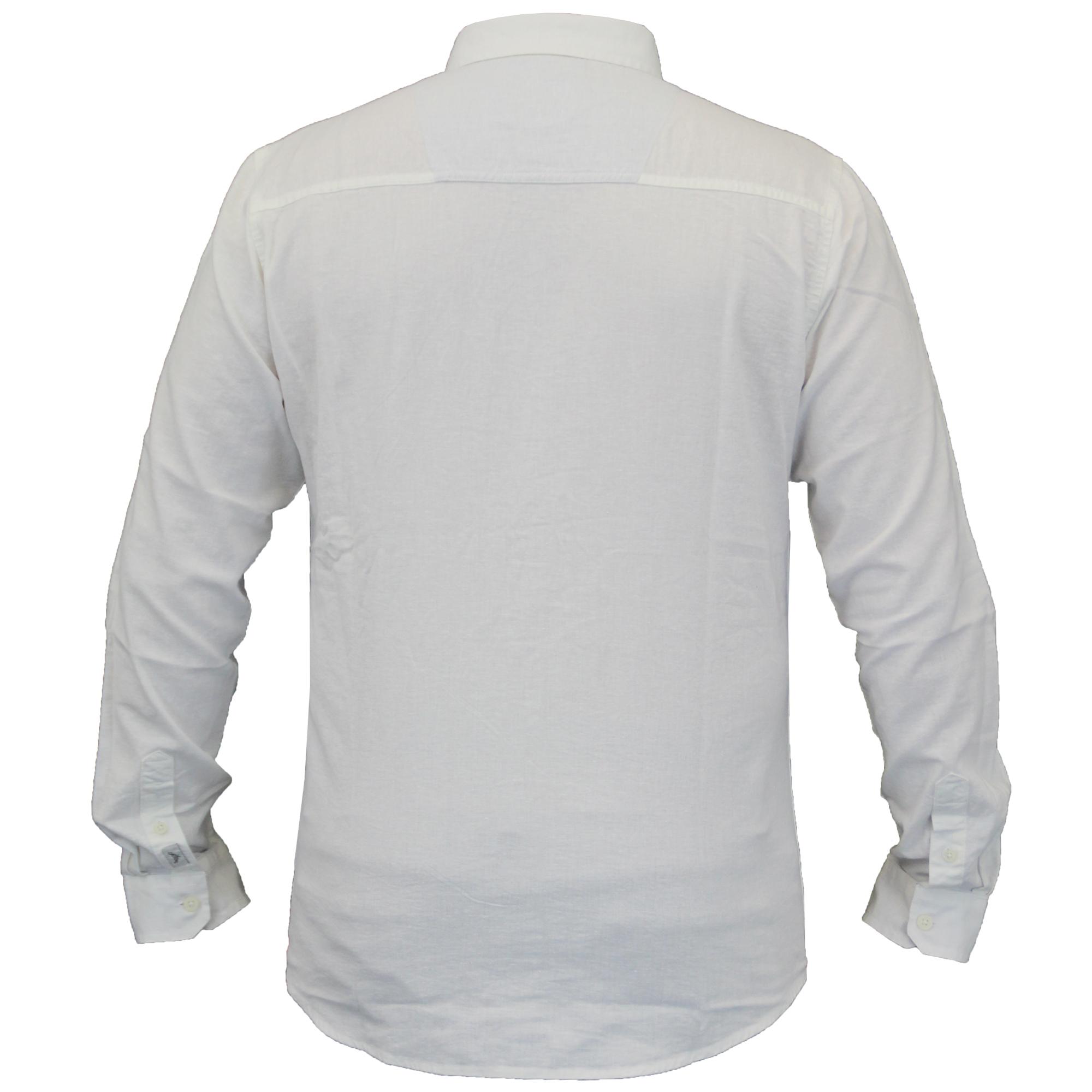 Para-hombres-camisa-de-manga-larga-con-cuello-desgastado-Lino-formales-de-trabajo-informal-de-verano miniatura 9