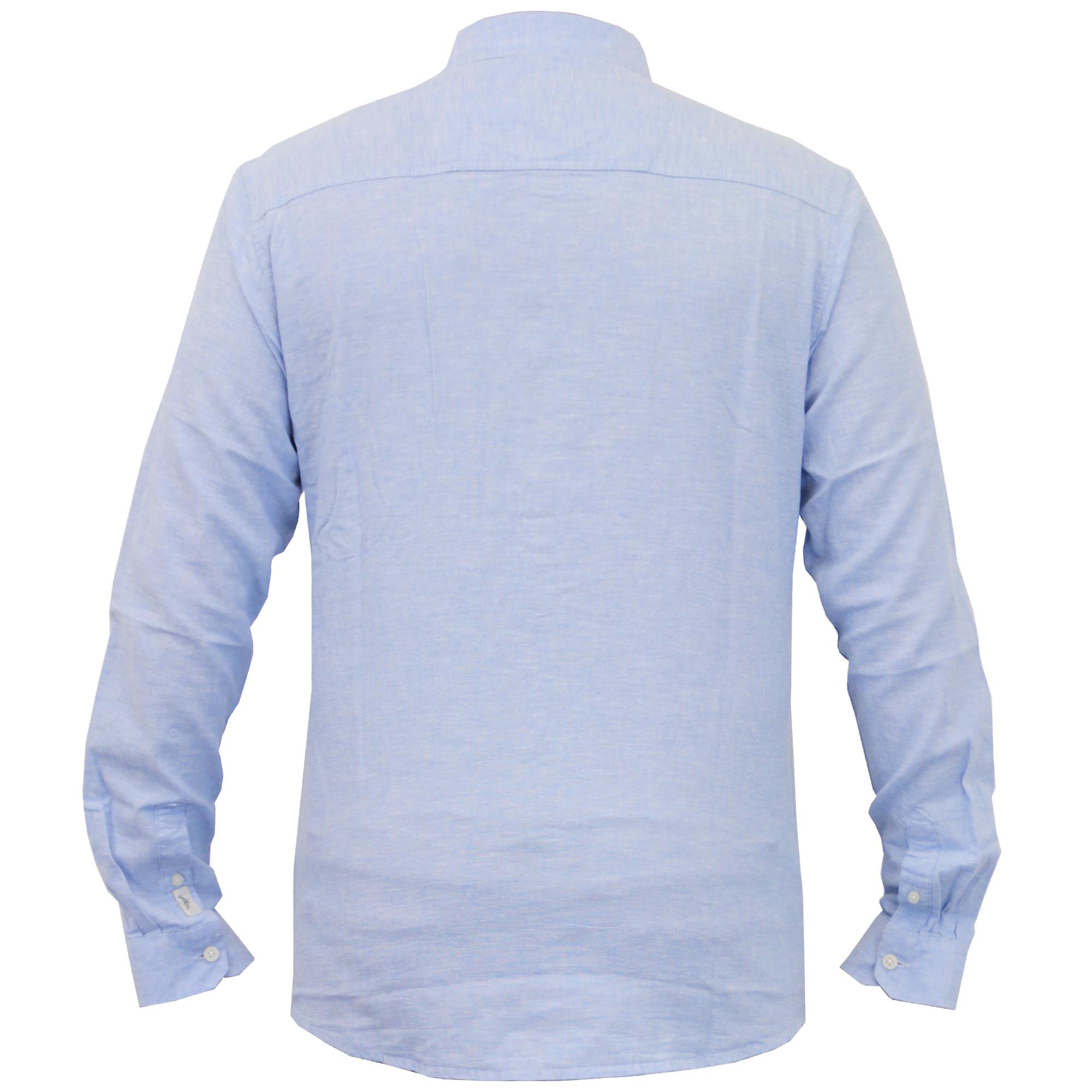 Para-hombres-camisa-de-manga-larga-con-cuello-desgastado-Lino-formales-de-trabajo-informal-de-verano miniatura 3