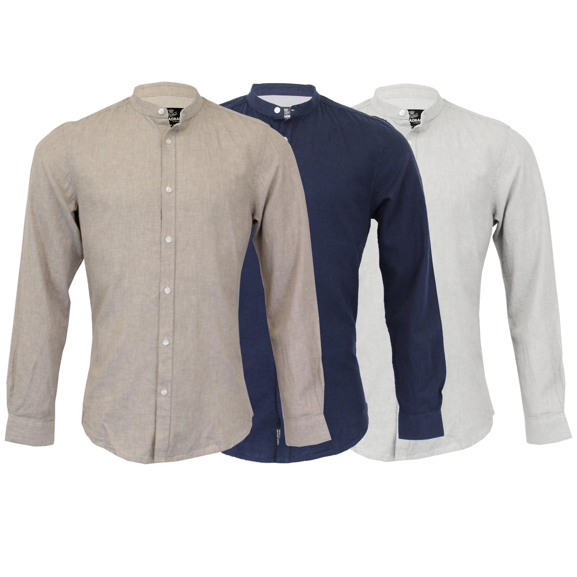 Hombre Forrado Camisa de Algodón Threadbare Cuello Mao Manga Larga . 7b0f583d4c7