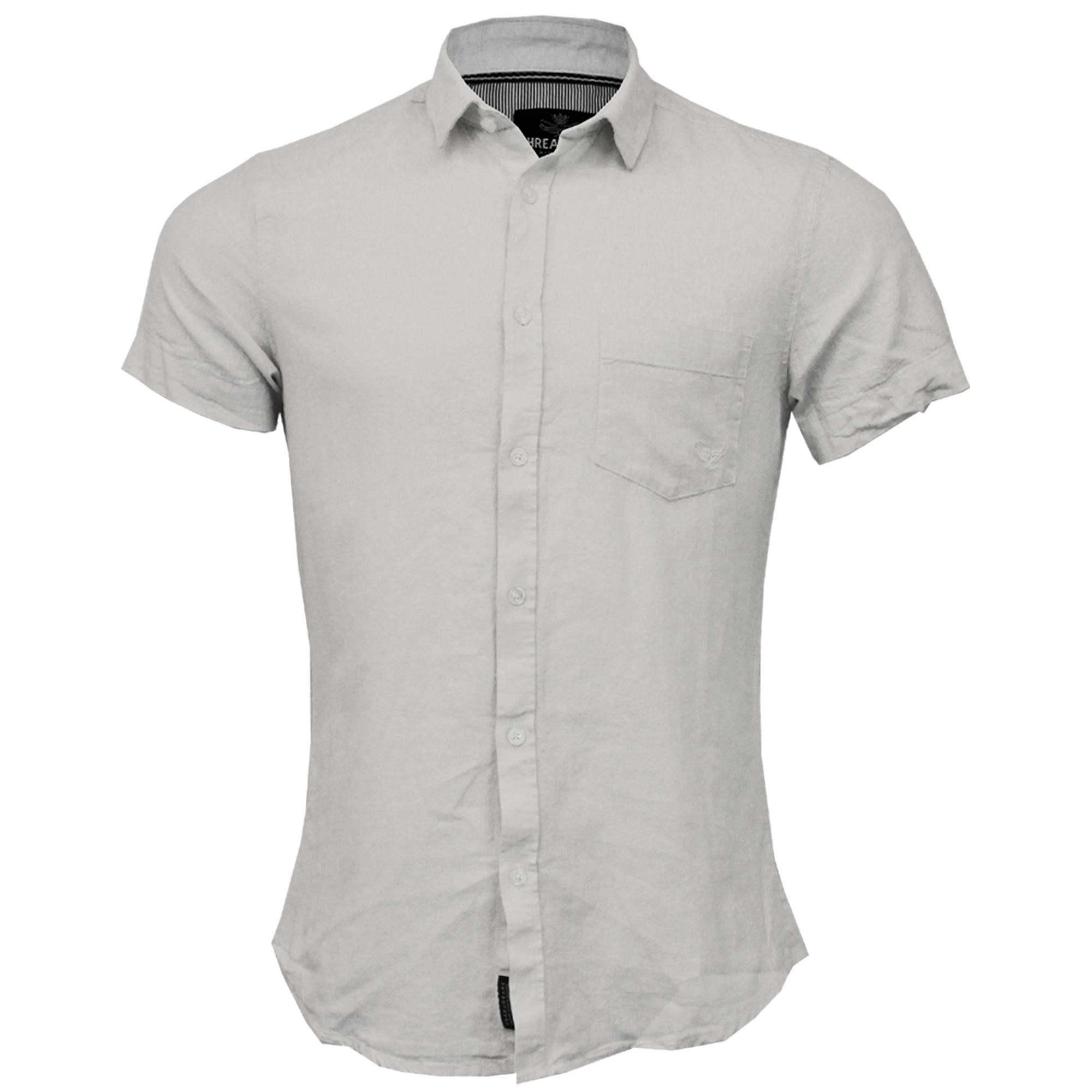 Mens-Linen-Shirt-Threadbare-Short-Sleeved-Brave-Soul-Collared-Casual-Summer-New thumbnail 25
