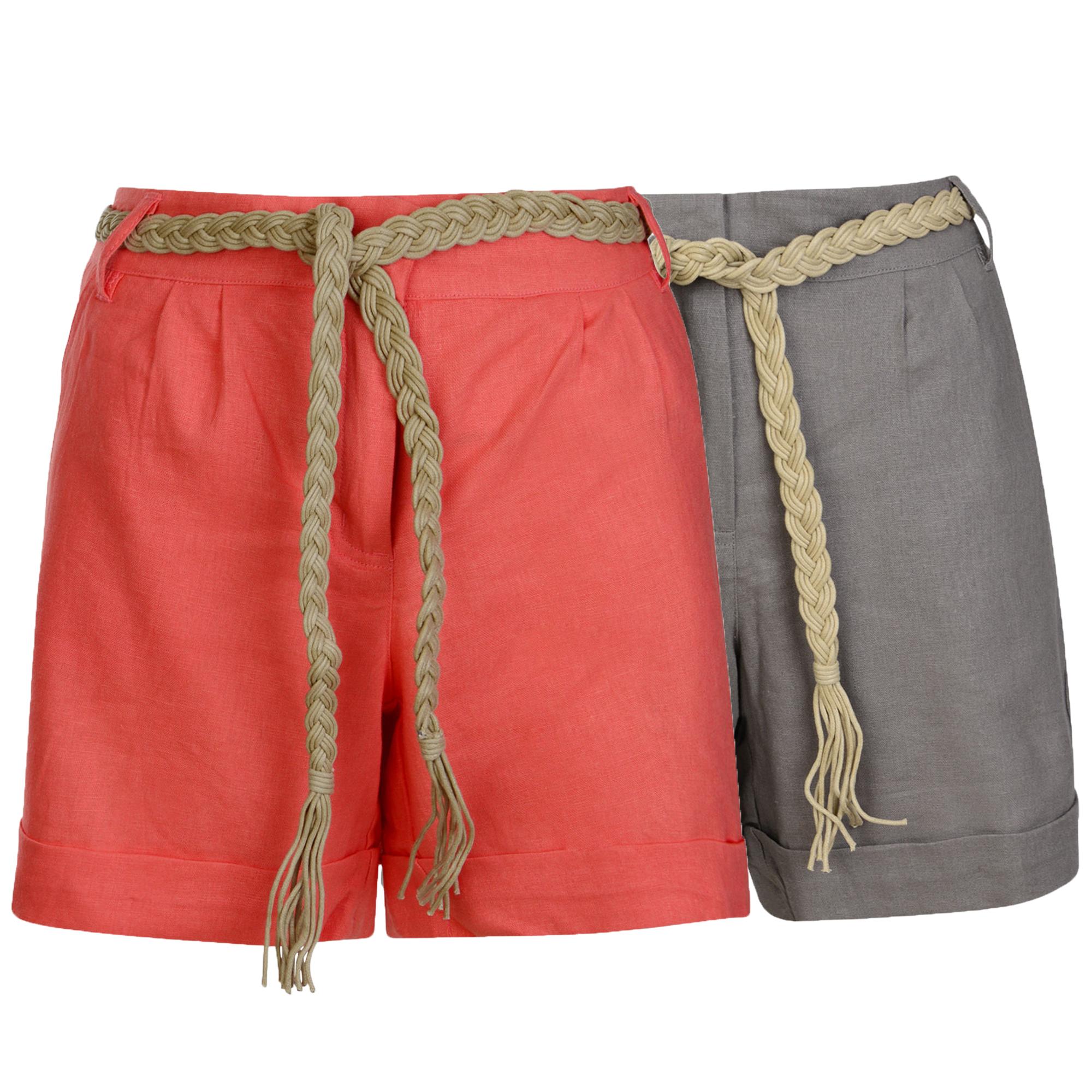d4028bcddefd Detalles de Mujer Pantalón Corto de Lino con Cinturón para Dama con Vuelta  Pantalones