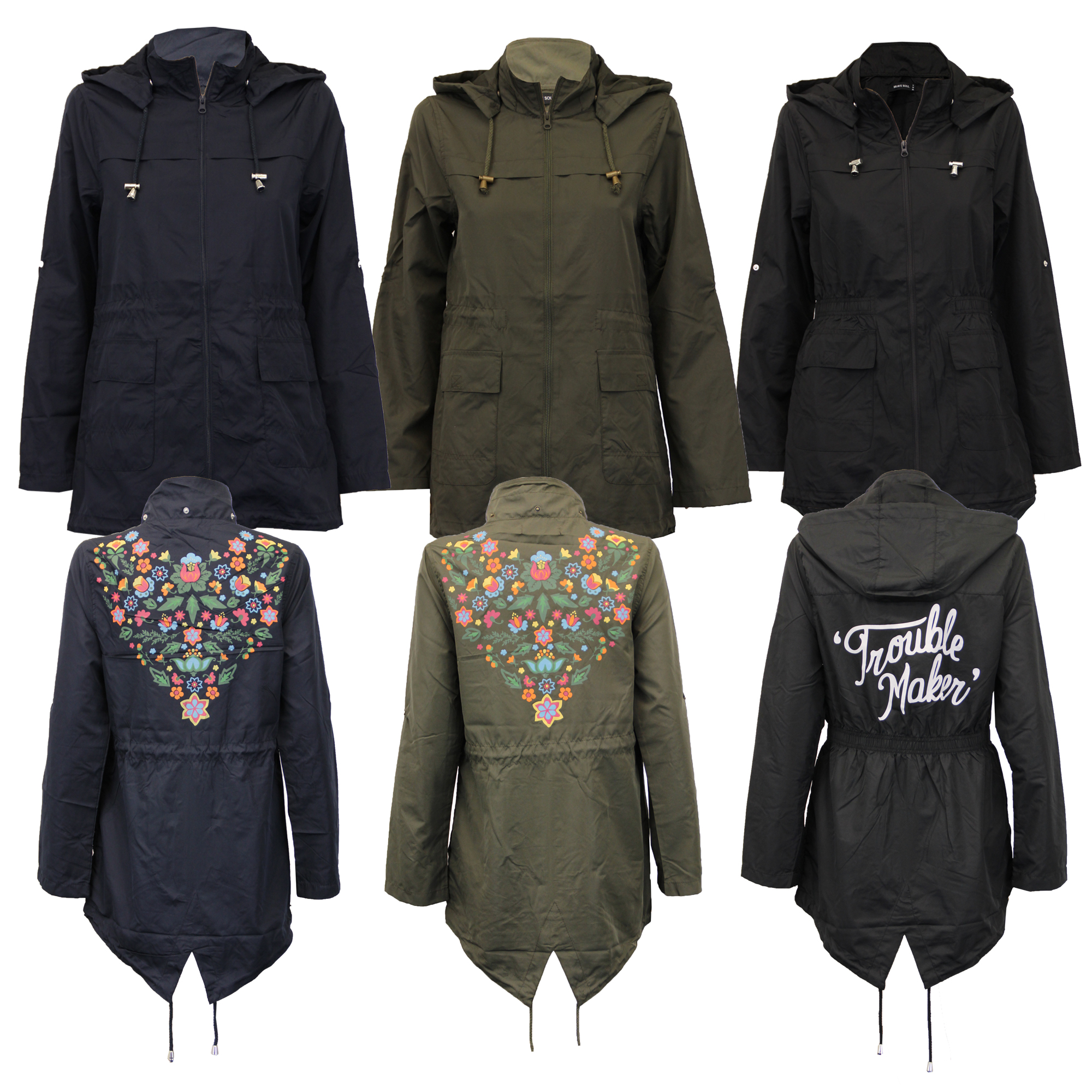 Ladies RAINBOW Kagool Rain Jacket Brave Soul Womens Cagoule Hooded Casual Summer