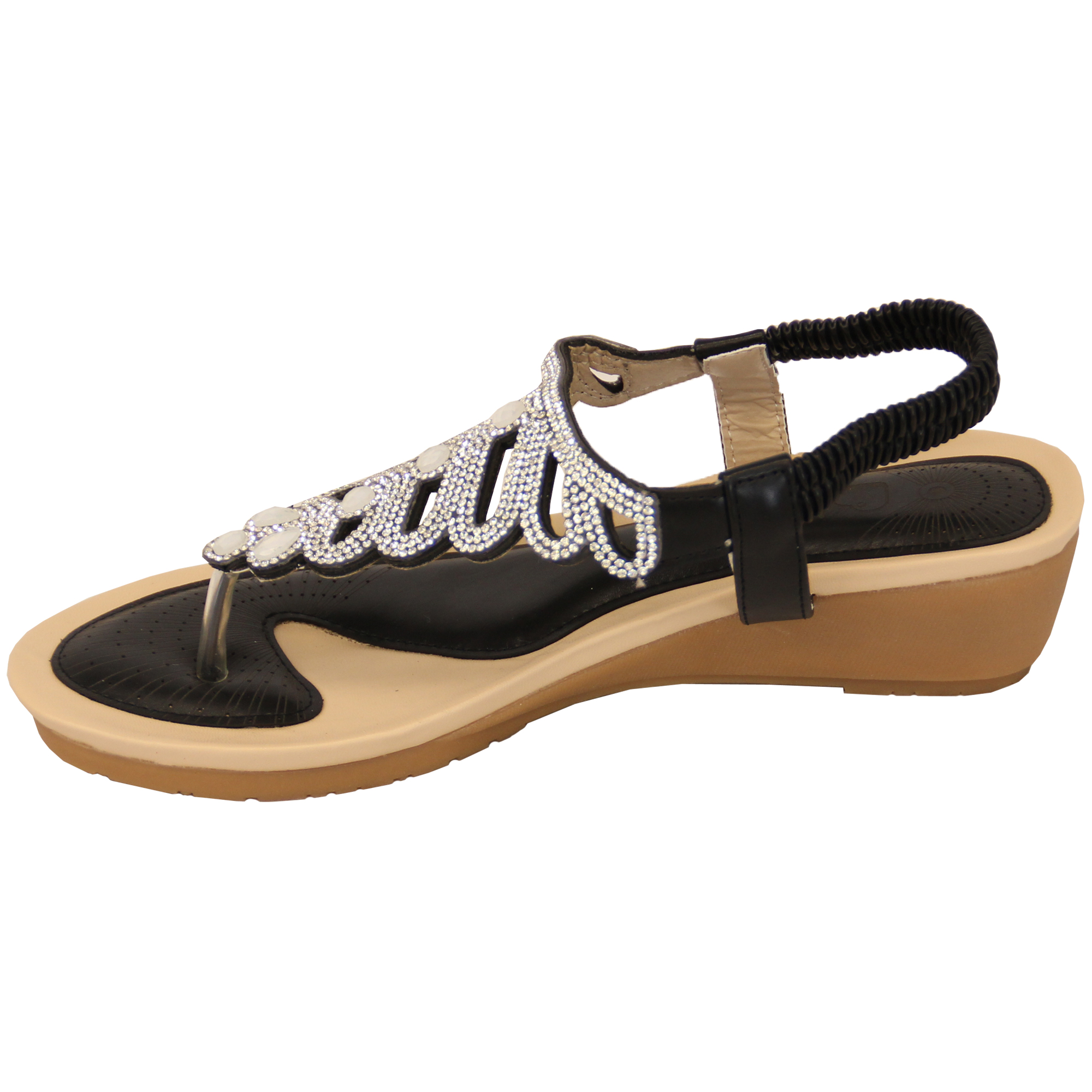 Ladies-Sandals-Kelsi-Womens-Diamante-Slip-On-Toe-Post-Shoes-Casual-Fashion-New thumbnail 11