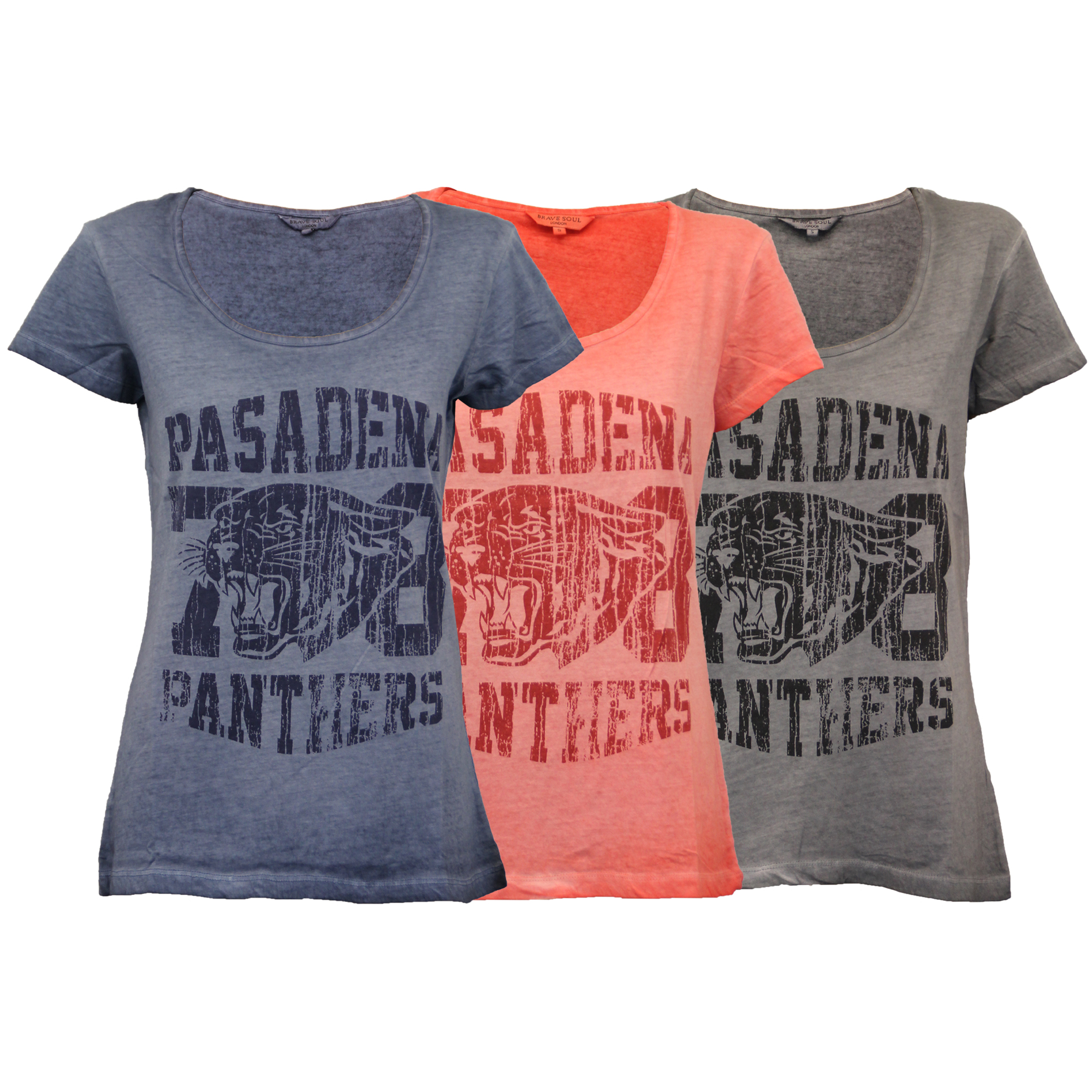 ladies burnout top Brave Soul womens t shirt cap sleeved panther print summer