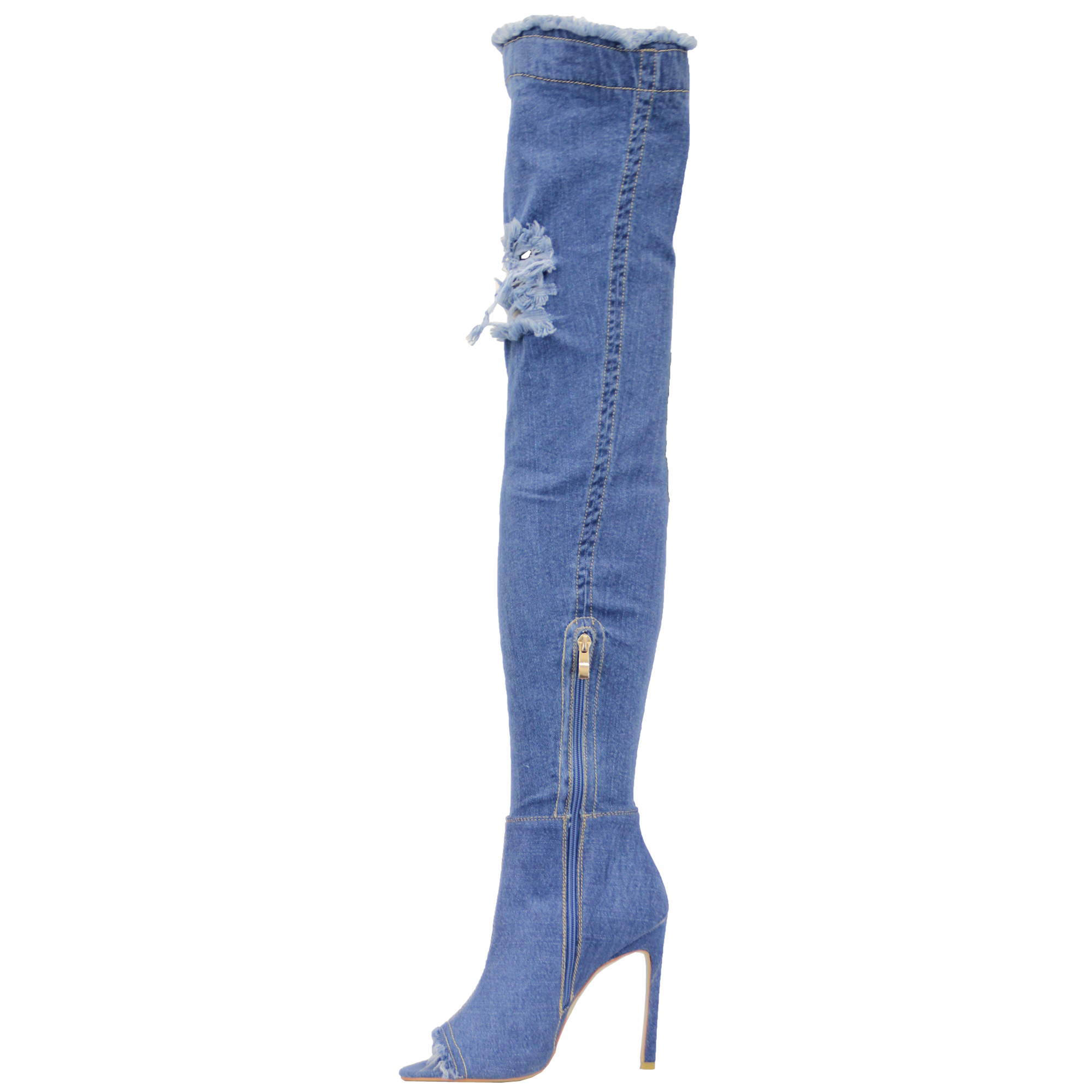 2f1c2645431 Ladies Over The Knee Denim Boots Womens Ripped Peeptoe Thigh High ...