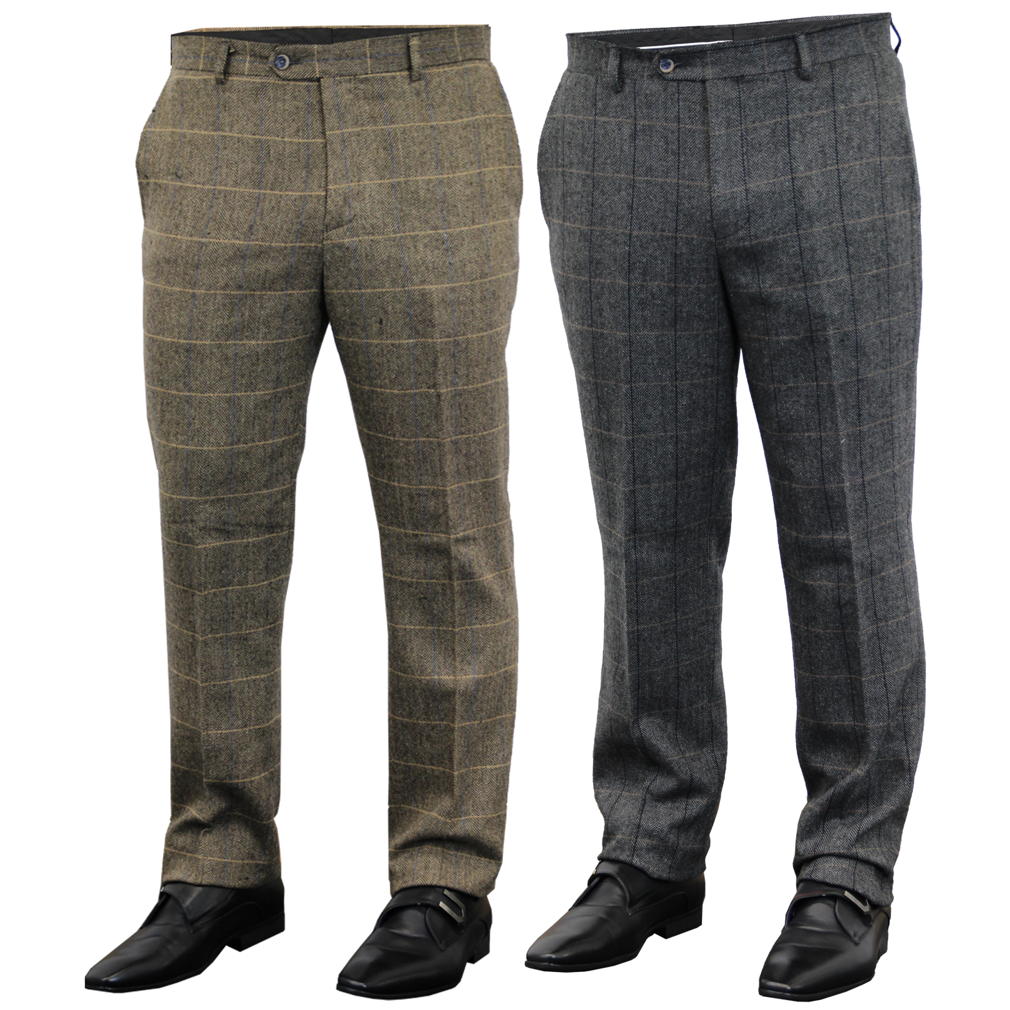 Mens-Wool-Mix-Trousers-Cavani-Tweed-Herringbone-Checked-Pants-Office-Work-New thumbnail 5
