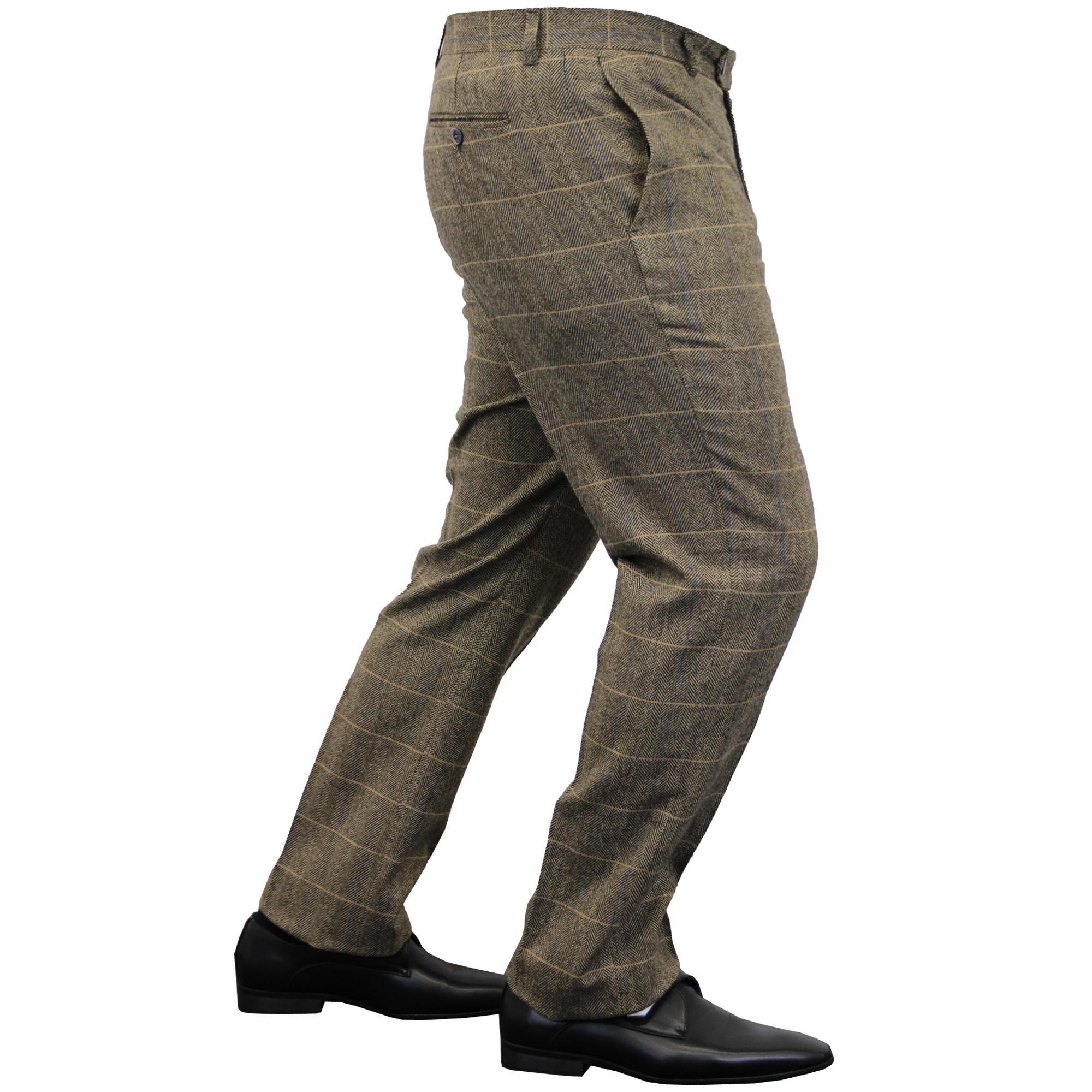 Mens-Wool-Mix-Trousers-Cavani-Tweed-Herringbone-Checked-Pants-Office-Work-New thumbnail 7