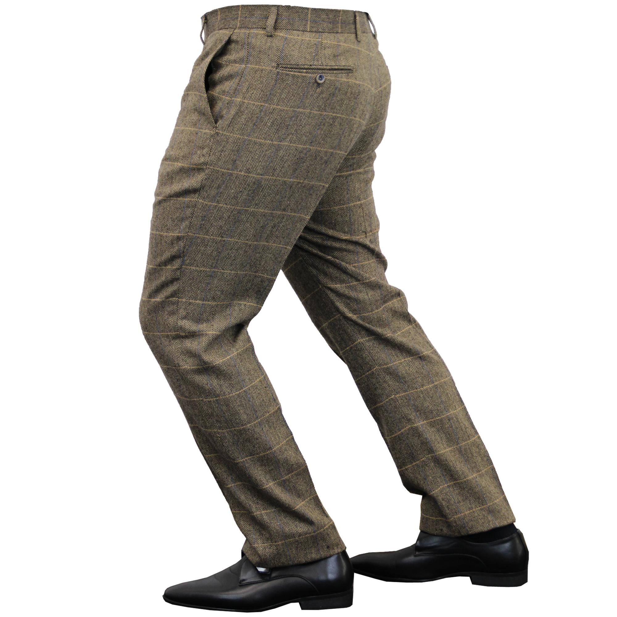 Mens-Wool-Mix-Trousers-Cavani-Tweed-Herringbone-Checked-Pants-Office-Work-New thumbnail 8