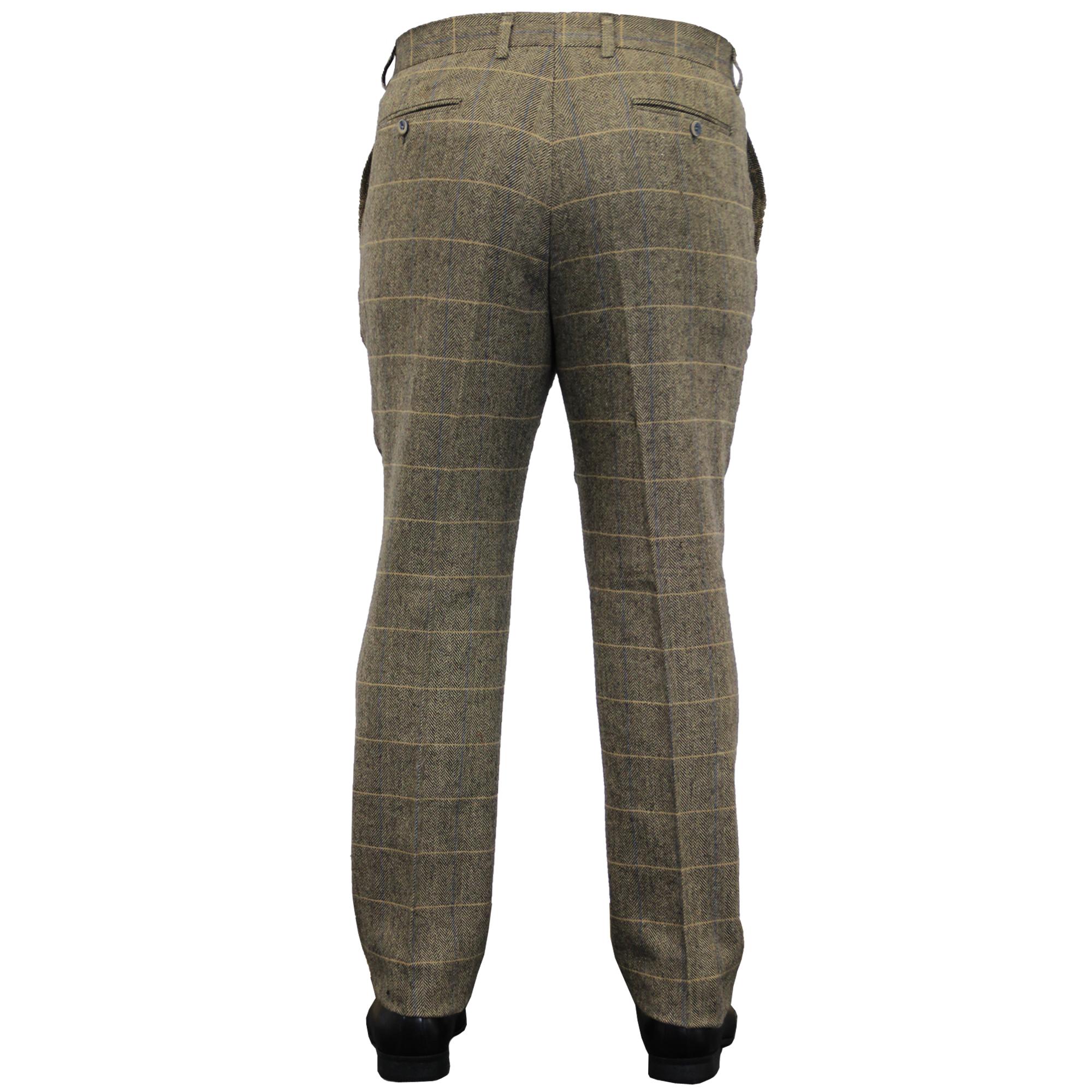 Mens-Wool-Mix-Trousers-Cavani-Tweed-Herringbone-Checked-Pants-Office-Work-New thumbnail 9