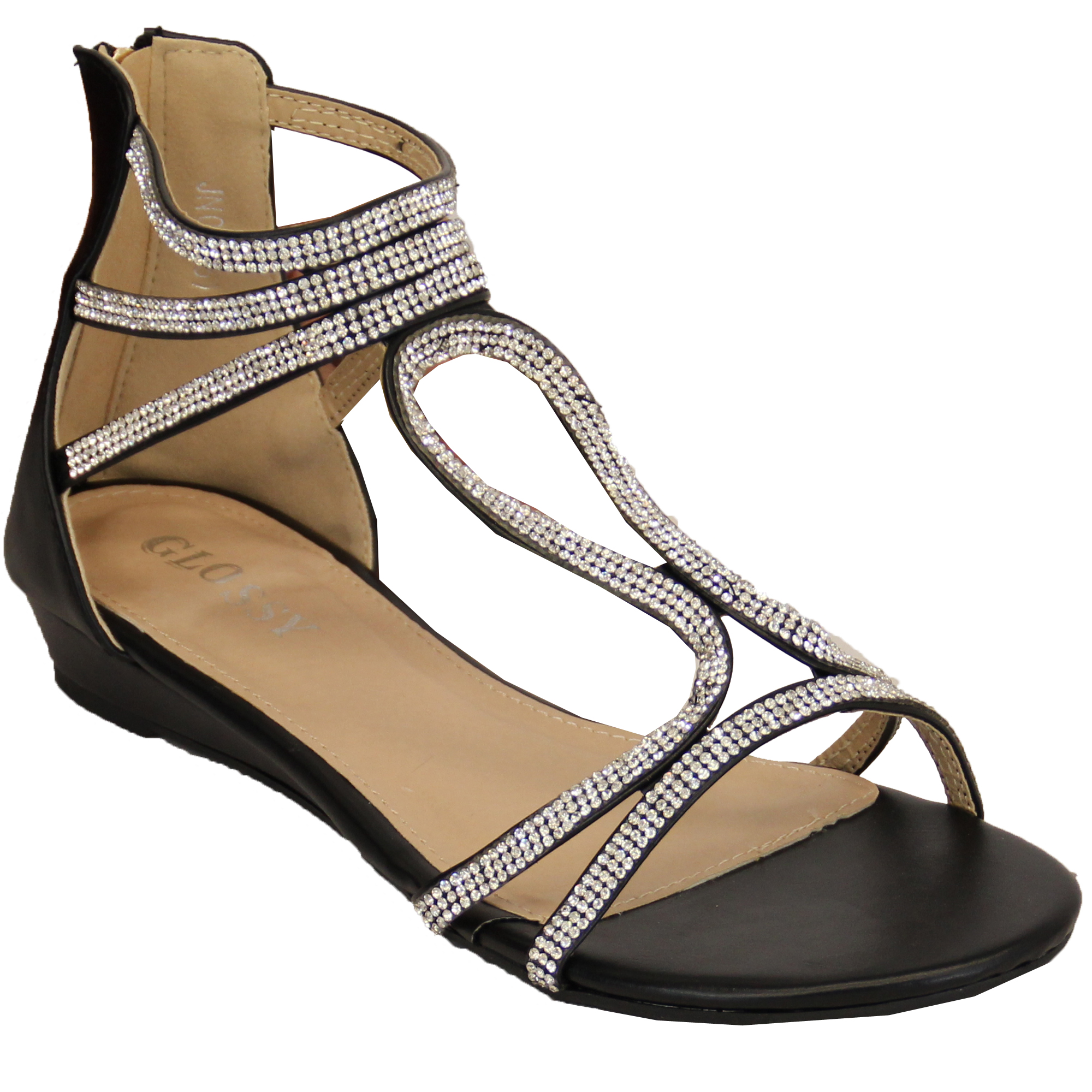 Ladies Gladiator Flat Sandals Womens Diamante Zip Shoes ...