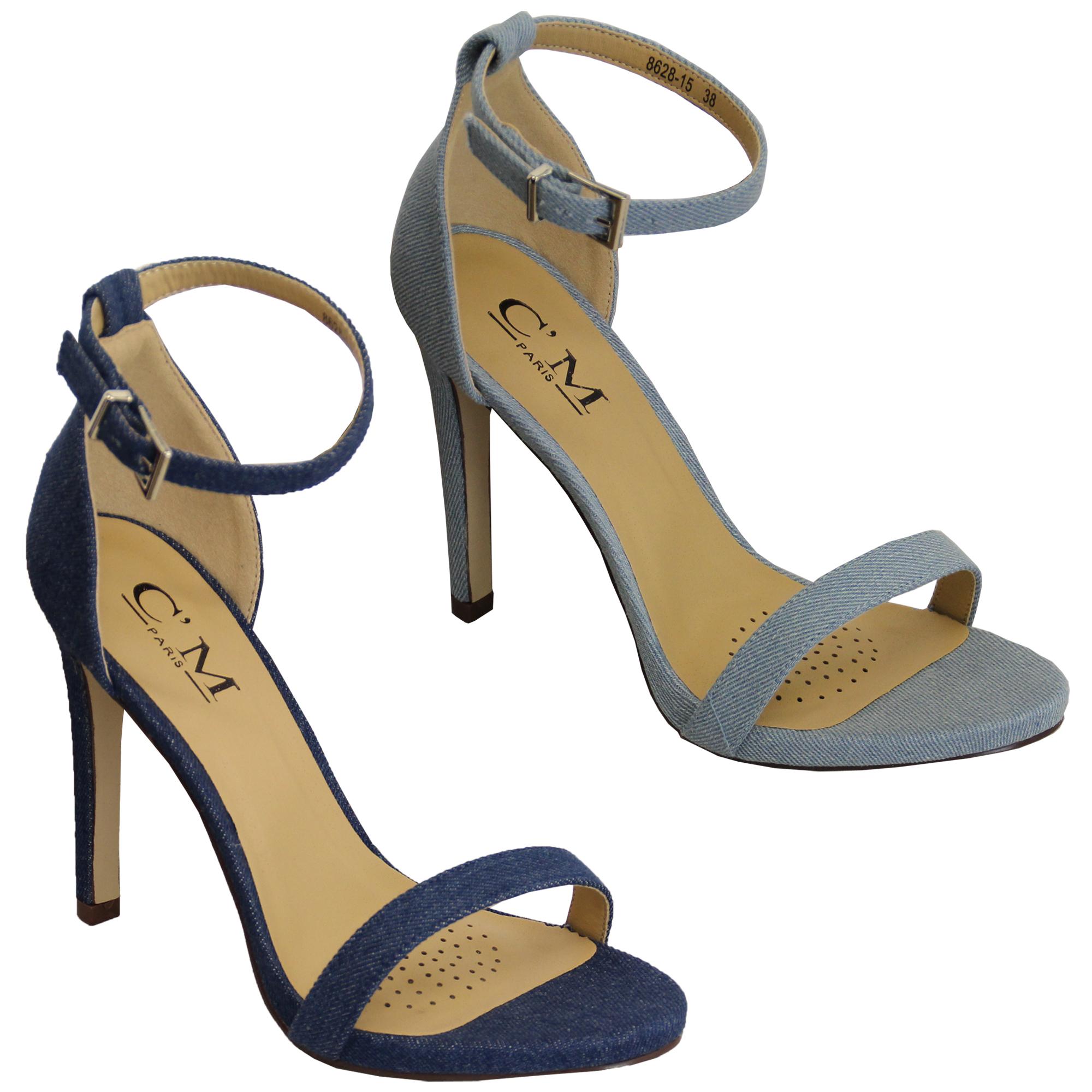 79f5188b15 Ladies Denim Sandals Womens Ankle Strap Stiletto Heel Buckle Open ...