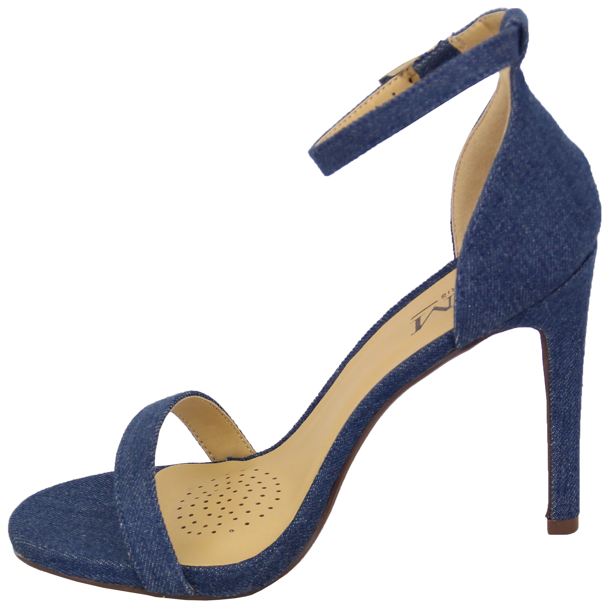dd3fe1ce6 Ladies Denim Sandals Womens Ankle Strap Stiletto Heel Buckle Open ...