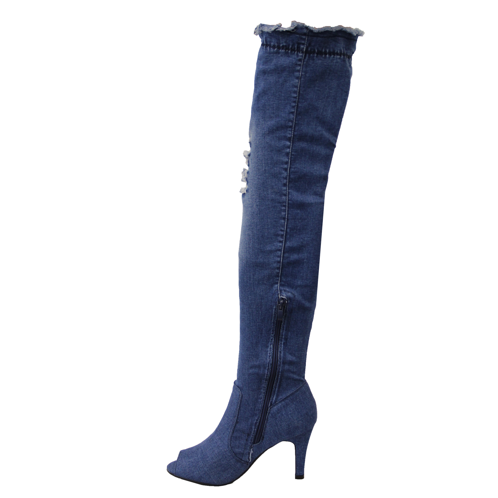 81c0d796cc6 Details about Ladies Over The Knee Denim Boots Womens Ripped Peeptoe Thigh  High Stiletto Heel