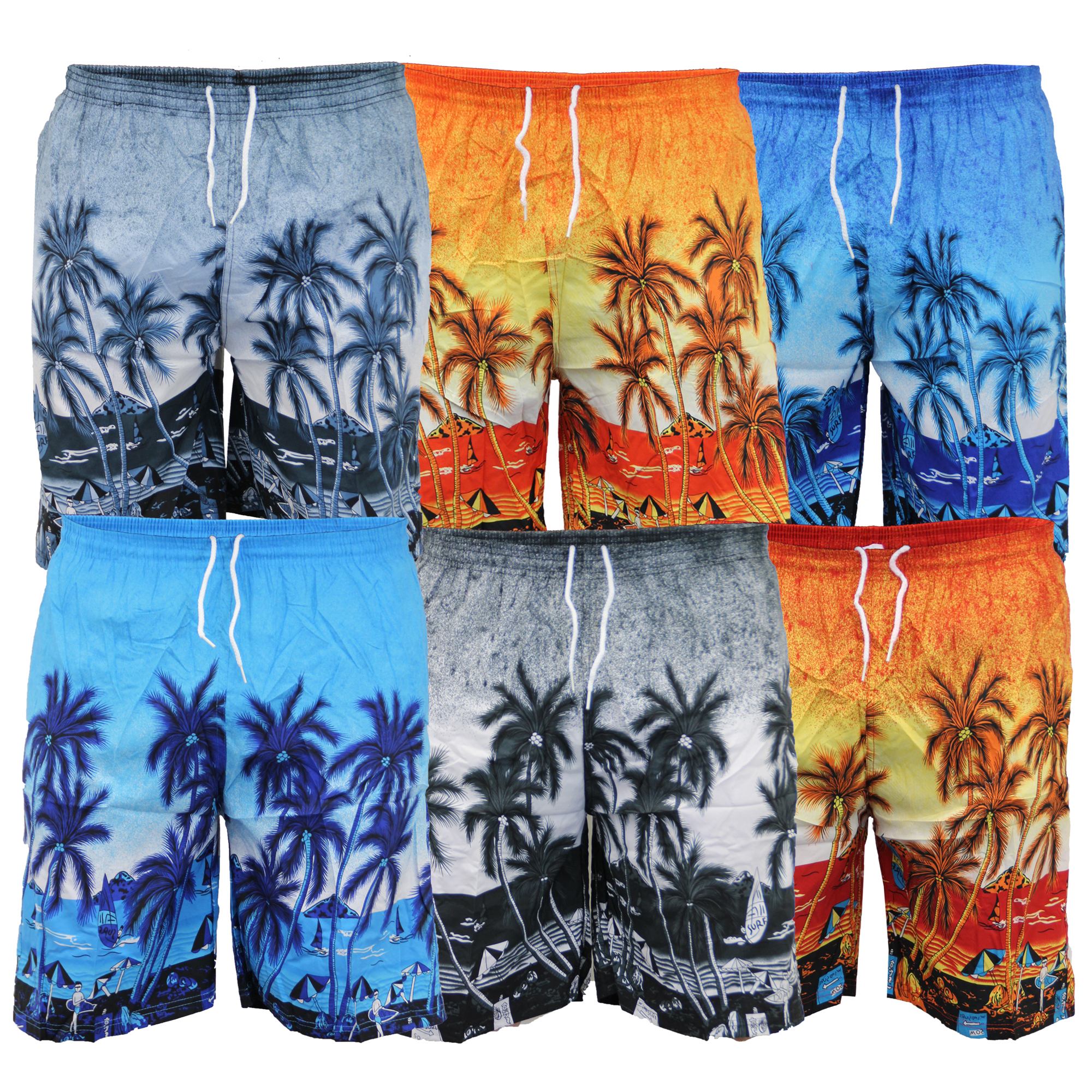 8e8ec410d1 Mens Hawaiian Swimming Shorts Beach Trunks Palm Print Surf Board ...